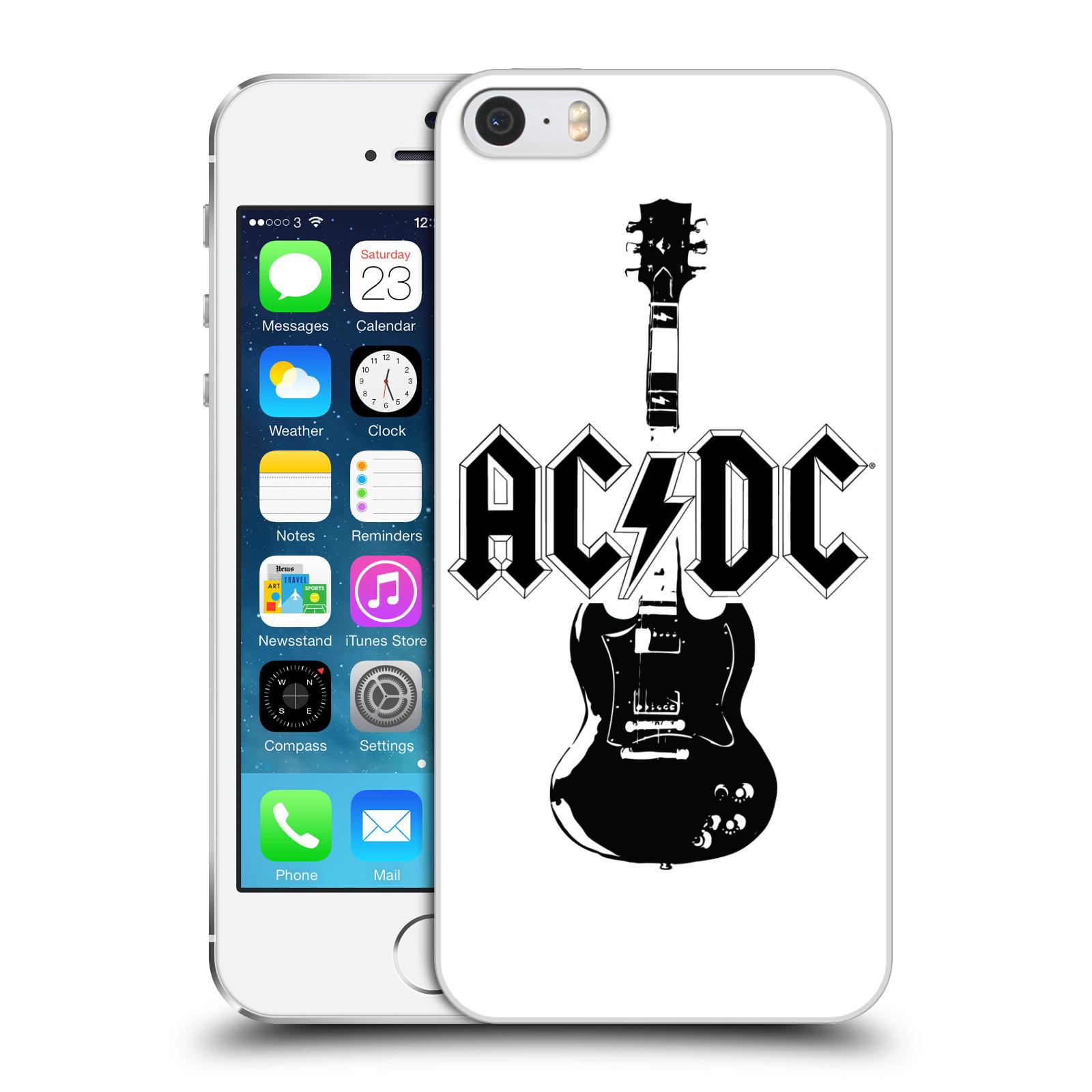 Plastové pouzdro pro mobil Apple Iphone 5   5S   SE rocková skupina ACDC  kytara černá a bílá c4bec16eb1a