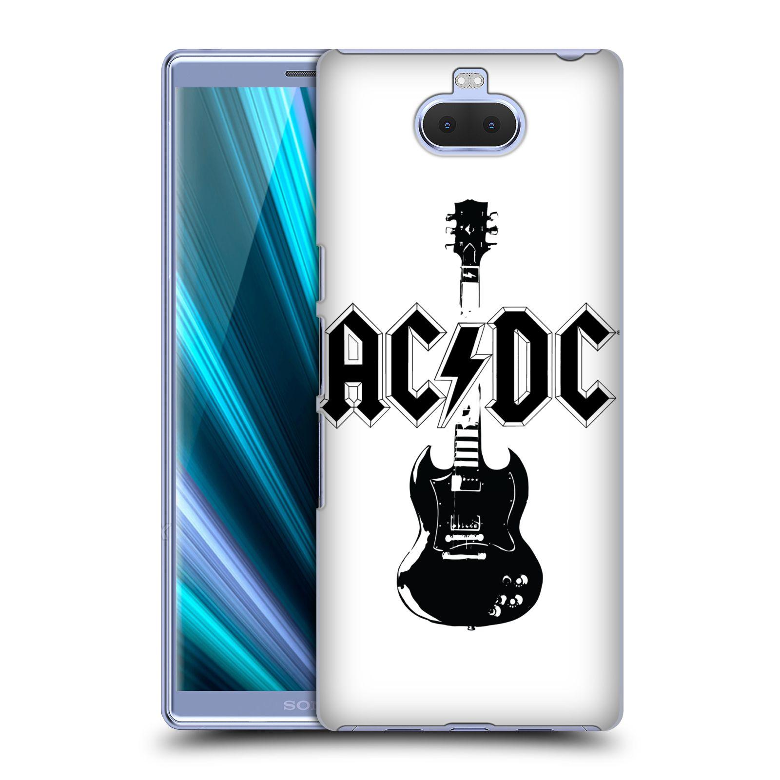 Pouzdro na mobil Sony Xperia 10 - Head Case - rocková skupina ACDC kytara černá a bílá