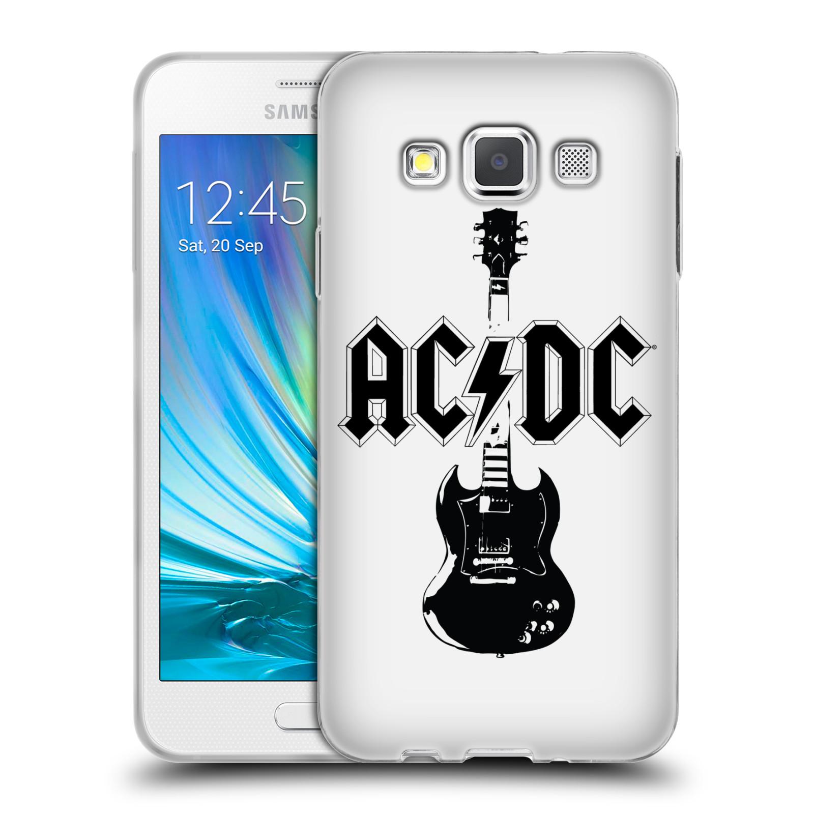HEAD CASE silikonový obal na mobil Samsung Galaxy A3 (A300) rocková skupina ACDC kytara černá a bílá