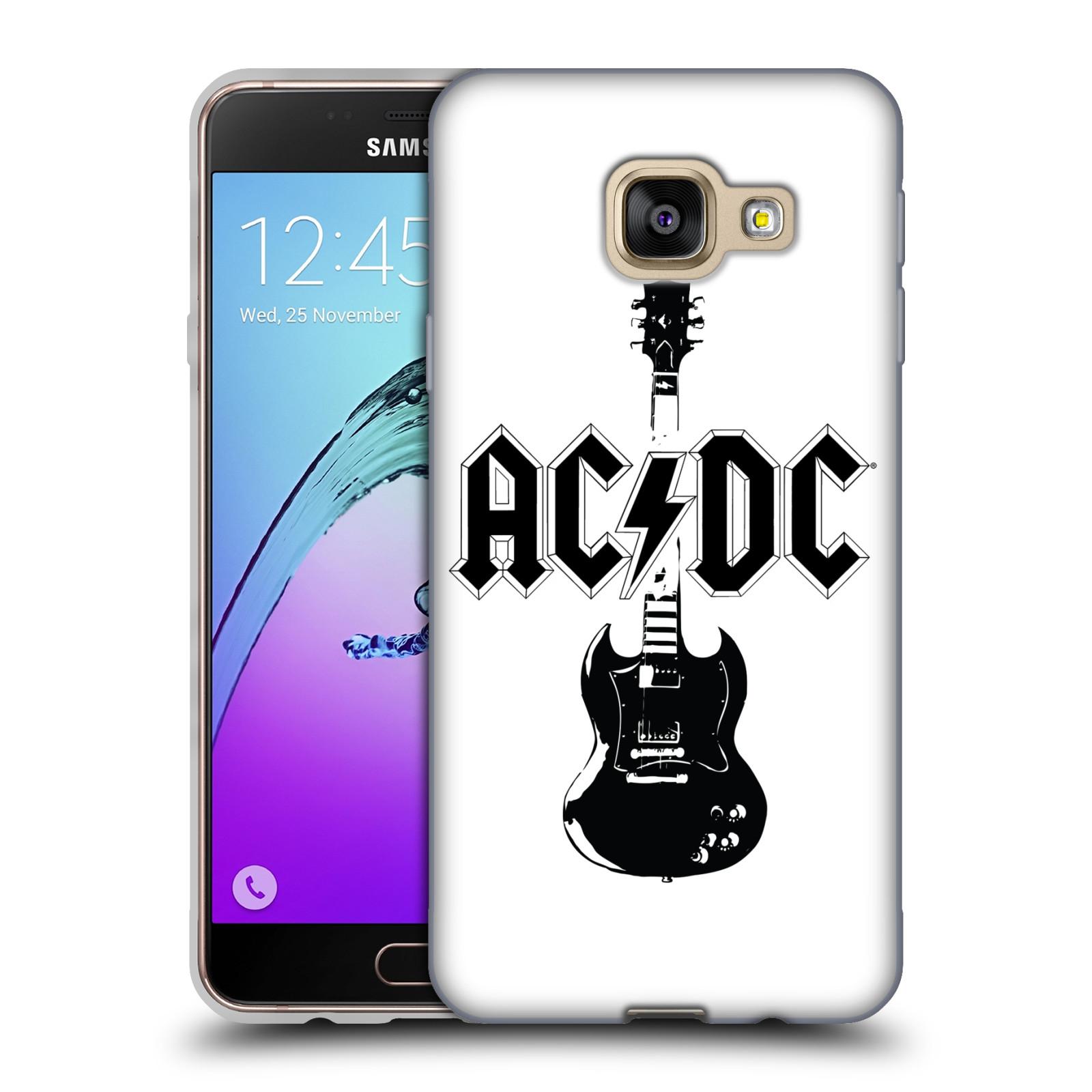 HEAD CASE silikonový obal na mobil Samsung Galaxy A3 2016 (A310) rocková skupina ACDC kytara černá a bílá