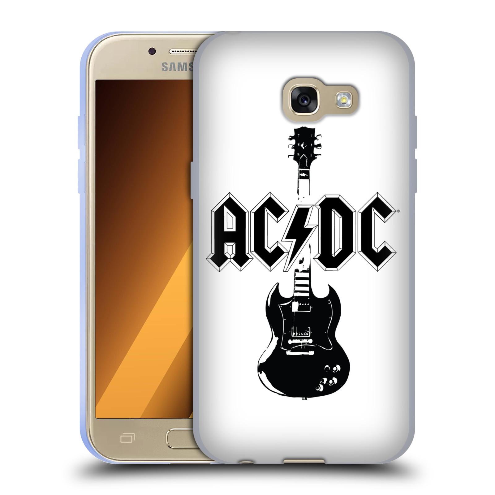 HEAD CASE silikonový obal na mobil Samsung Galaxy A3 2017 (A320) rocková skupina ACDC kytara černá a bílá