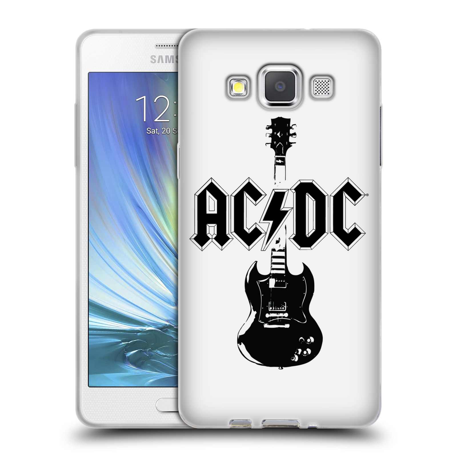 HEAD CASE silikonový obal na mobil Samsung Galaxy A5 (A500) rocková skupina ACDC kytara černá a bílá