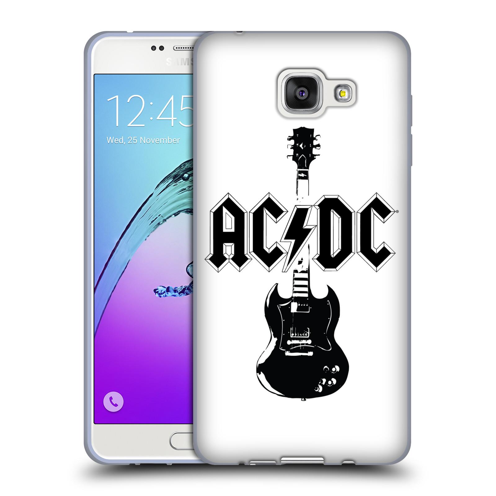 HEAD CASE silikonový obal na mobil Samsung Galaxy A7 2016 (A710) rocková skupina ACDC kytara černá a bílá