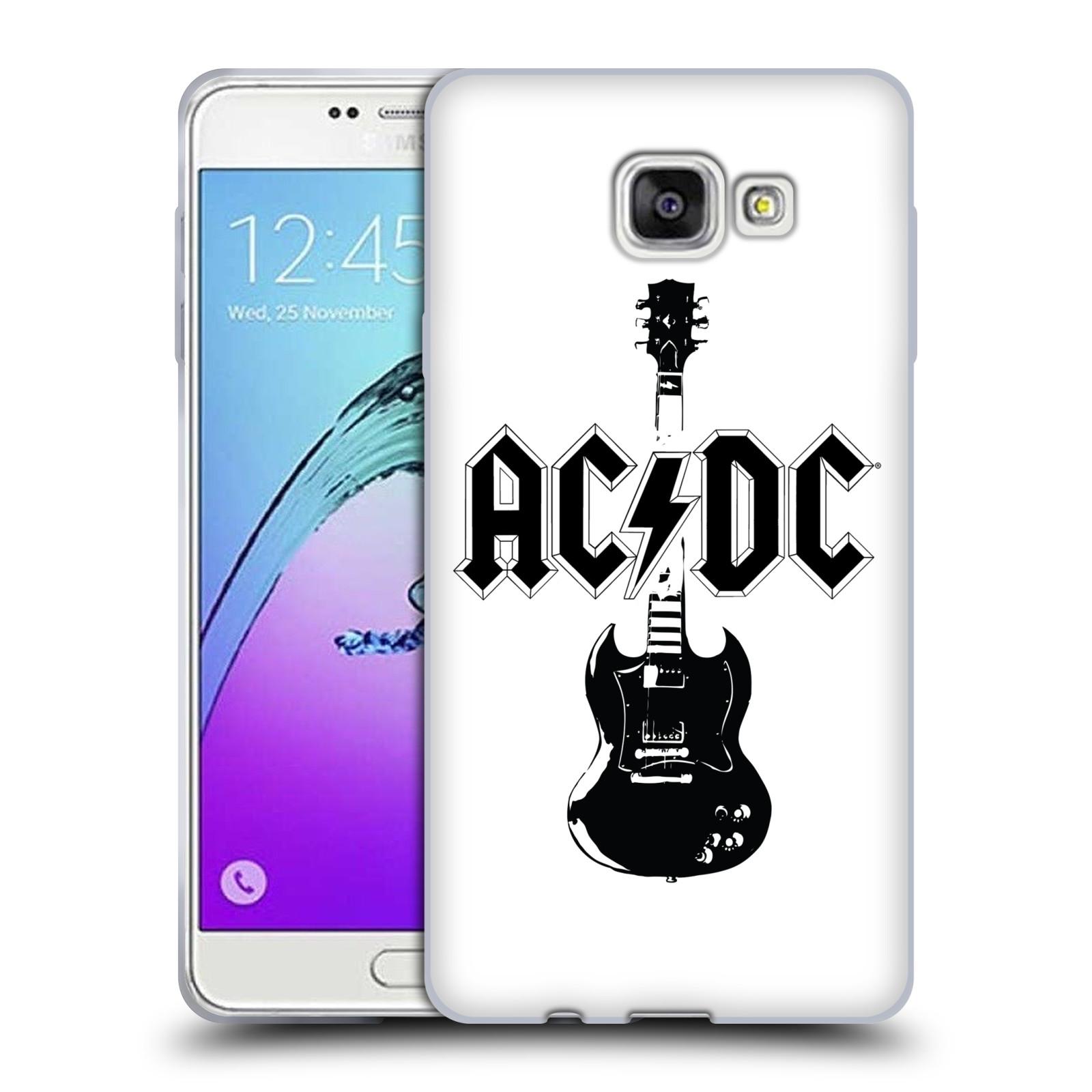 HEAD CASE silikonový obal na mobil Samsung Galaxy A7 2017 (A720) rocková skupina ACDC kytara černá a bílá