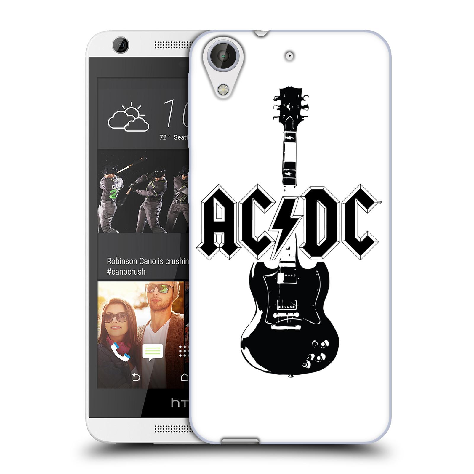 HEAD CASE silikonový obal na mobil HTC Desire 626 rocková skupina ACDC kytara černá a bílá