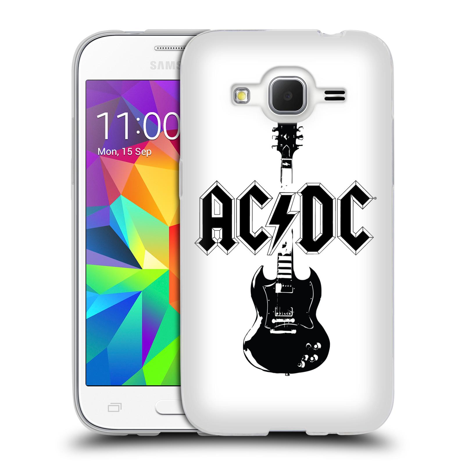 HEAD CASE silikonový obal na mobil Samsung Galaxy Core Prime (G360) rocková skupina ACDC kytara černá a bílá