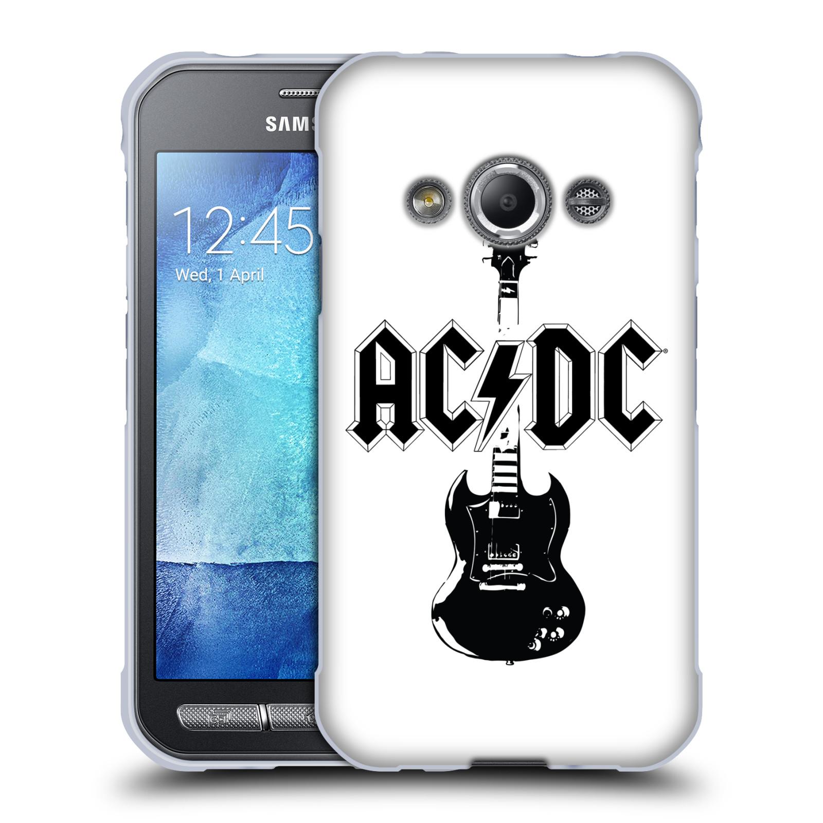 HEAD CASE silikonový obal na mobil Samsung Galaxy Xcover 3 rocková skupina ACDC kytara černá a bílá