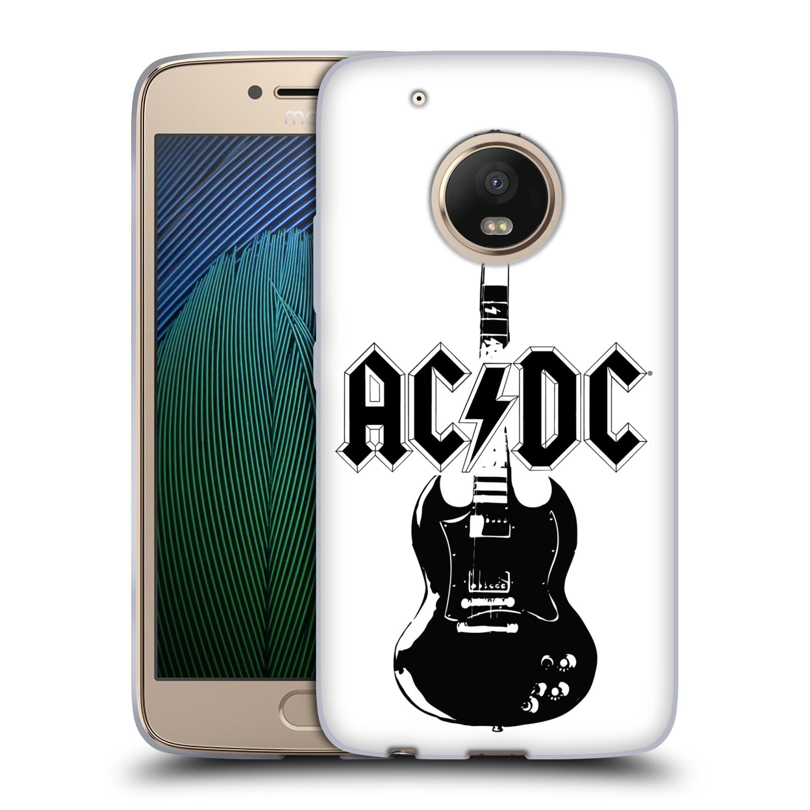 HEAD CASE silikonový obal na mobil Lenovo Moto G5 PLUS rocková skupina ACDC kytara černá a bílá