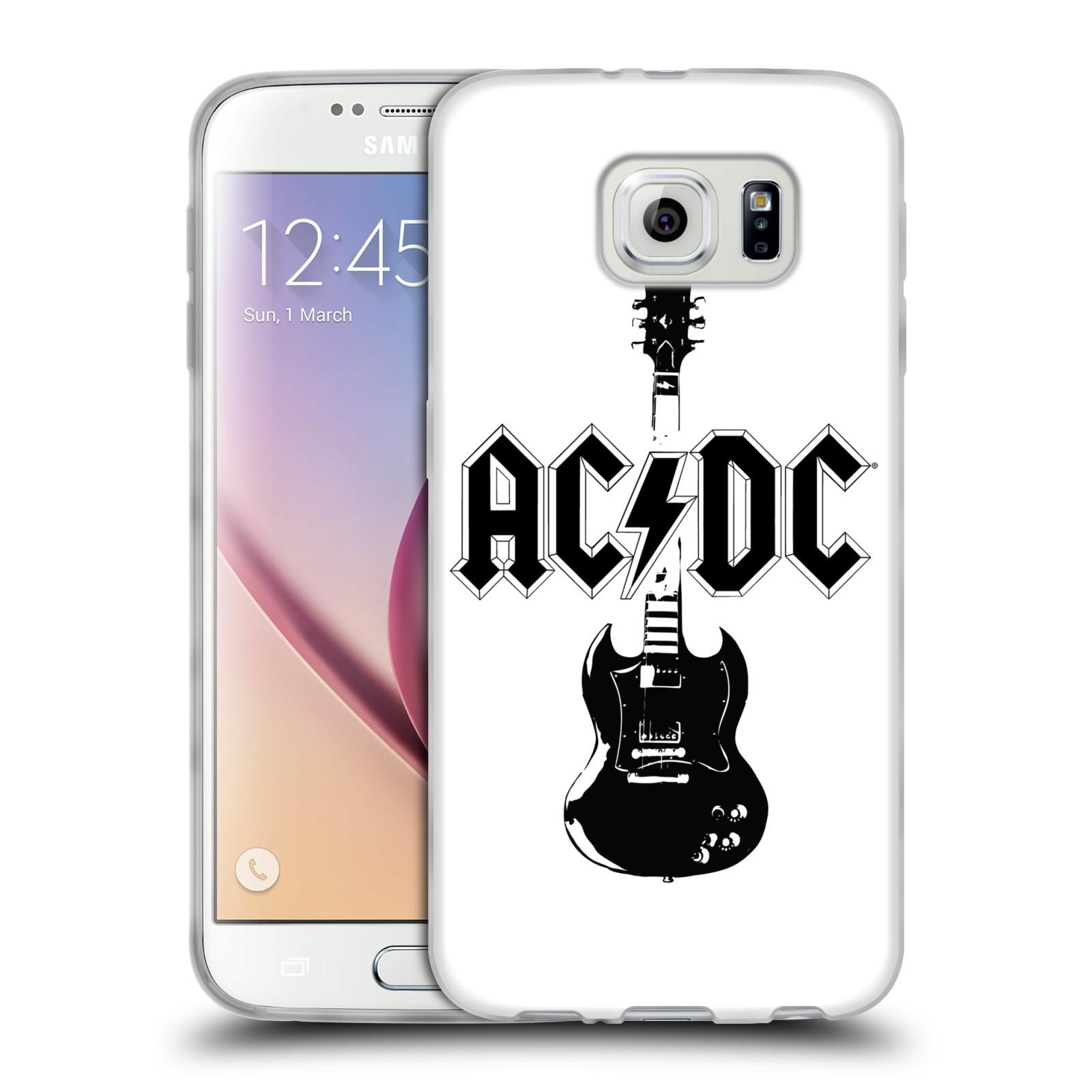 HEAD CASE silikonový obal na mobil Samsung Galaxy S6 rocková skupina ACDC kytara černá a bílá