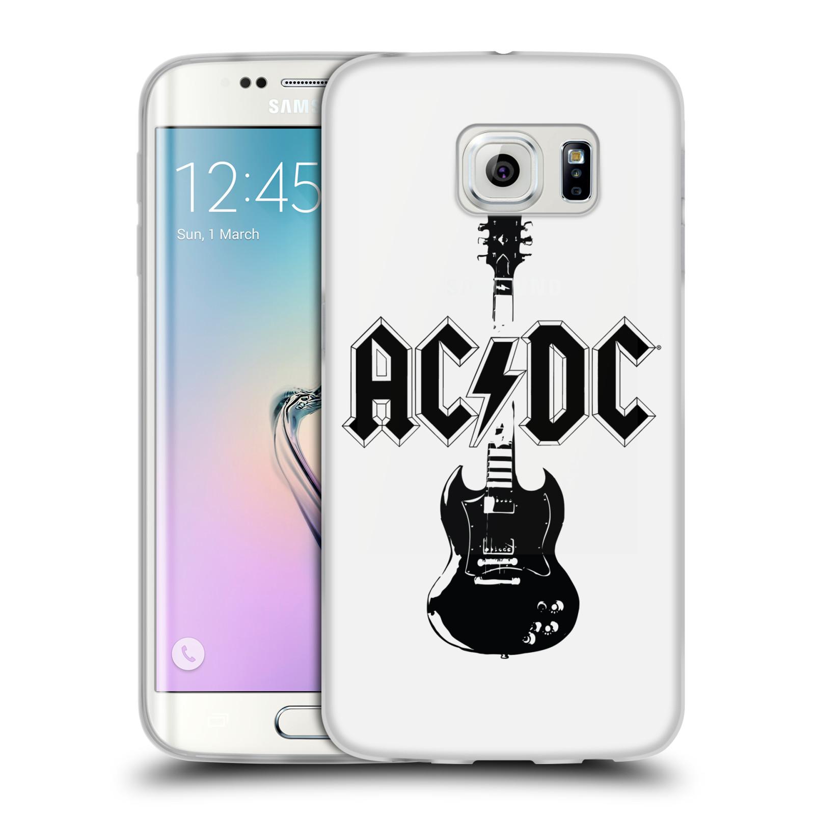 HEAD CASE silikonový obal na mobil Samsung Galaxy S6 EDGE rocková skupina ACDC kytara černá a bílá