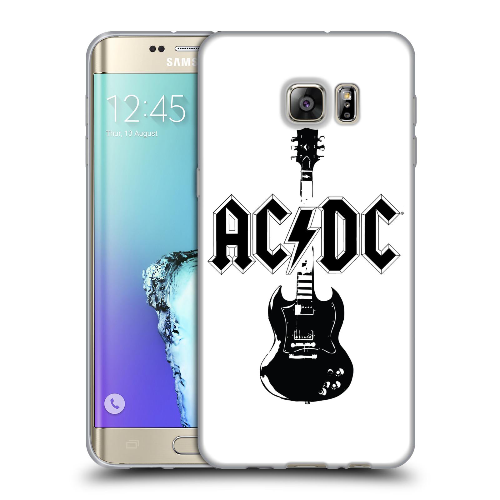 HEAD CASE silikonový obal na mobil Samsung Galaxy S6 EDGE PLUS rocková skupina ACDC kytara černá a bílá
