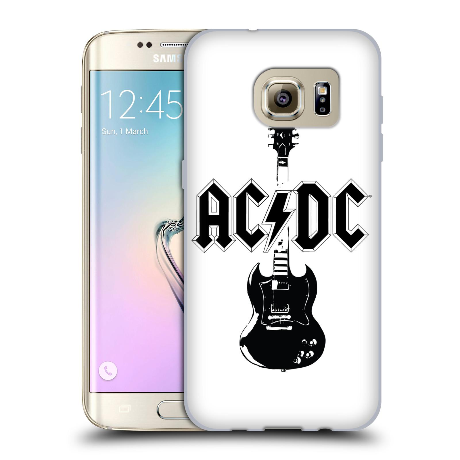 HEAD CASE silikonový obal na mobil Samsung Galaxy S7 EDGE rocková skupina ACDC kytara černá a bílá