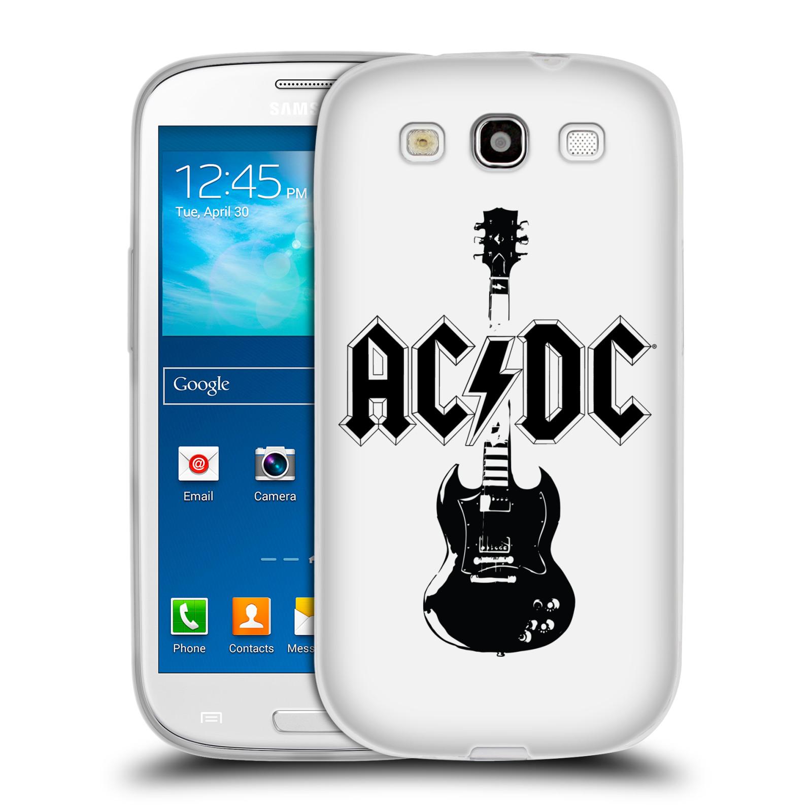 HEAD CASE silikonový obal na mobil Samsung Galaxy S3 rocková skupina ACDC kytara černá a bílá