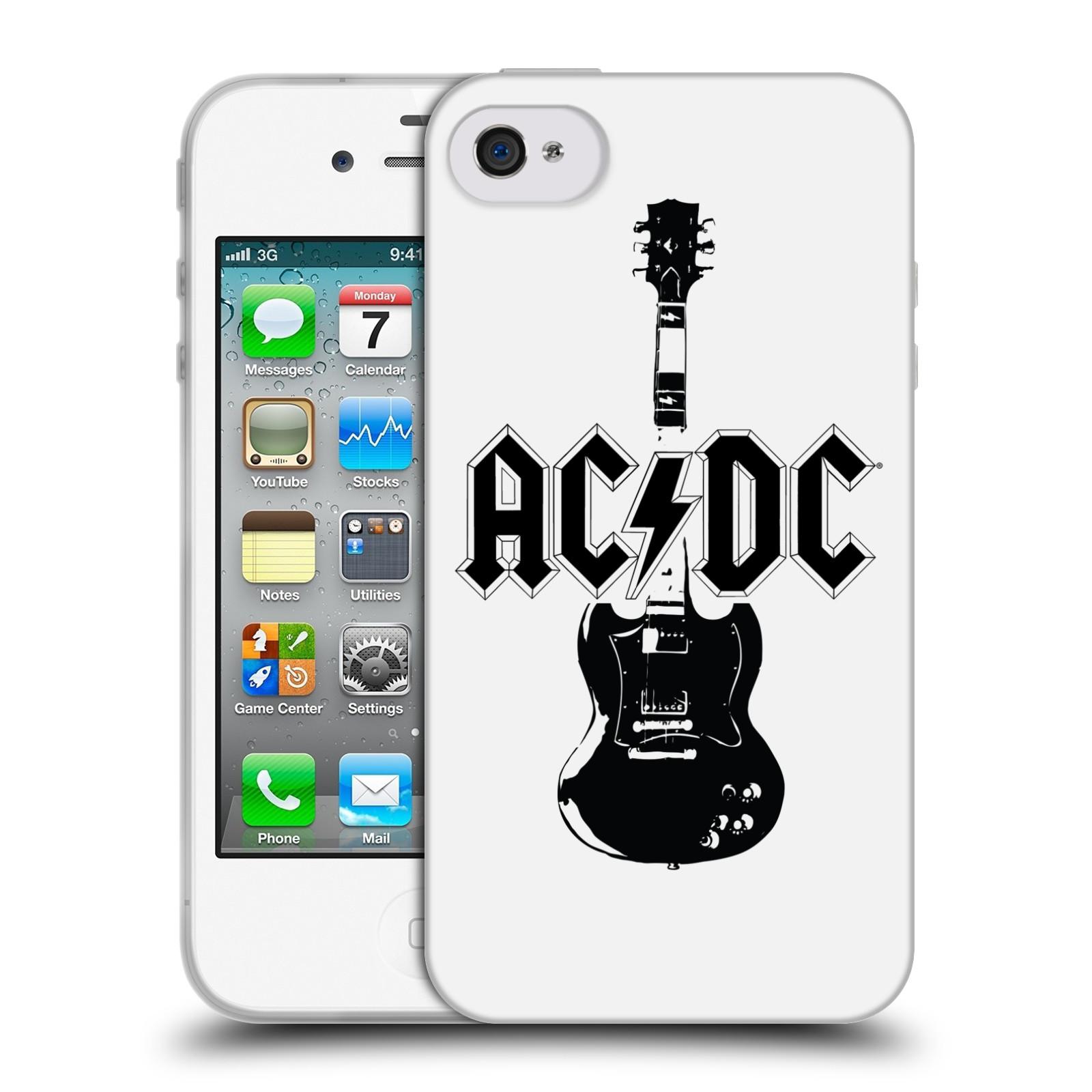 HEAD CASE silikonový obal na mobil Apple Iphone 4/4S rocková skupina ACDC kytara černá a bílá