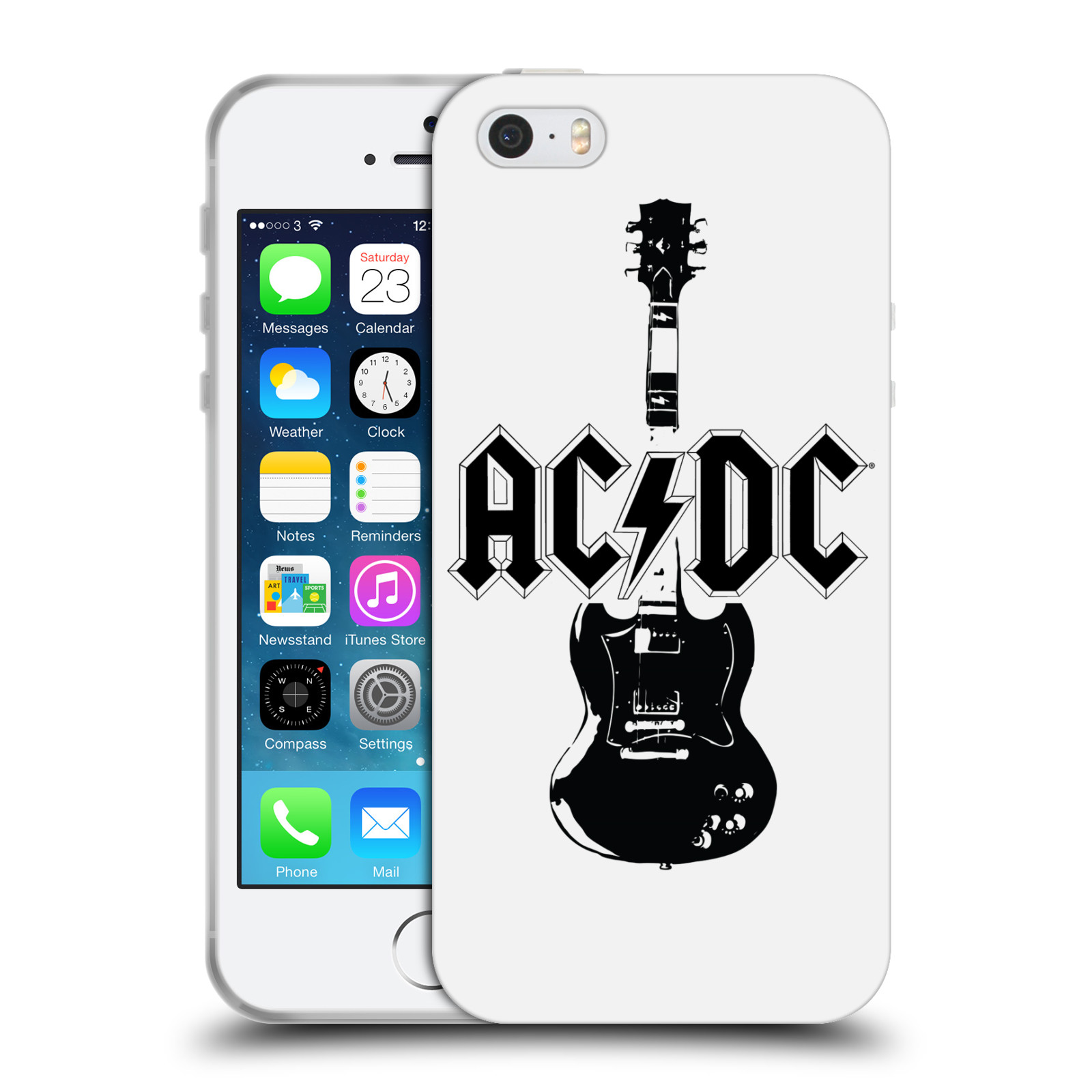 HEAD CASE silikonový obal na mobil Apple Iphone 5/5S rocková skupina ACDC kytara černá a bílá
