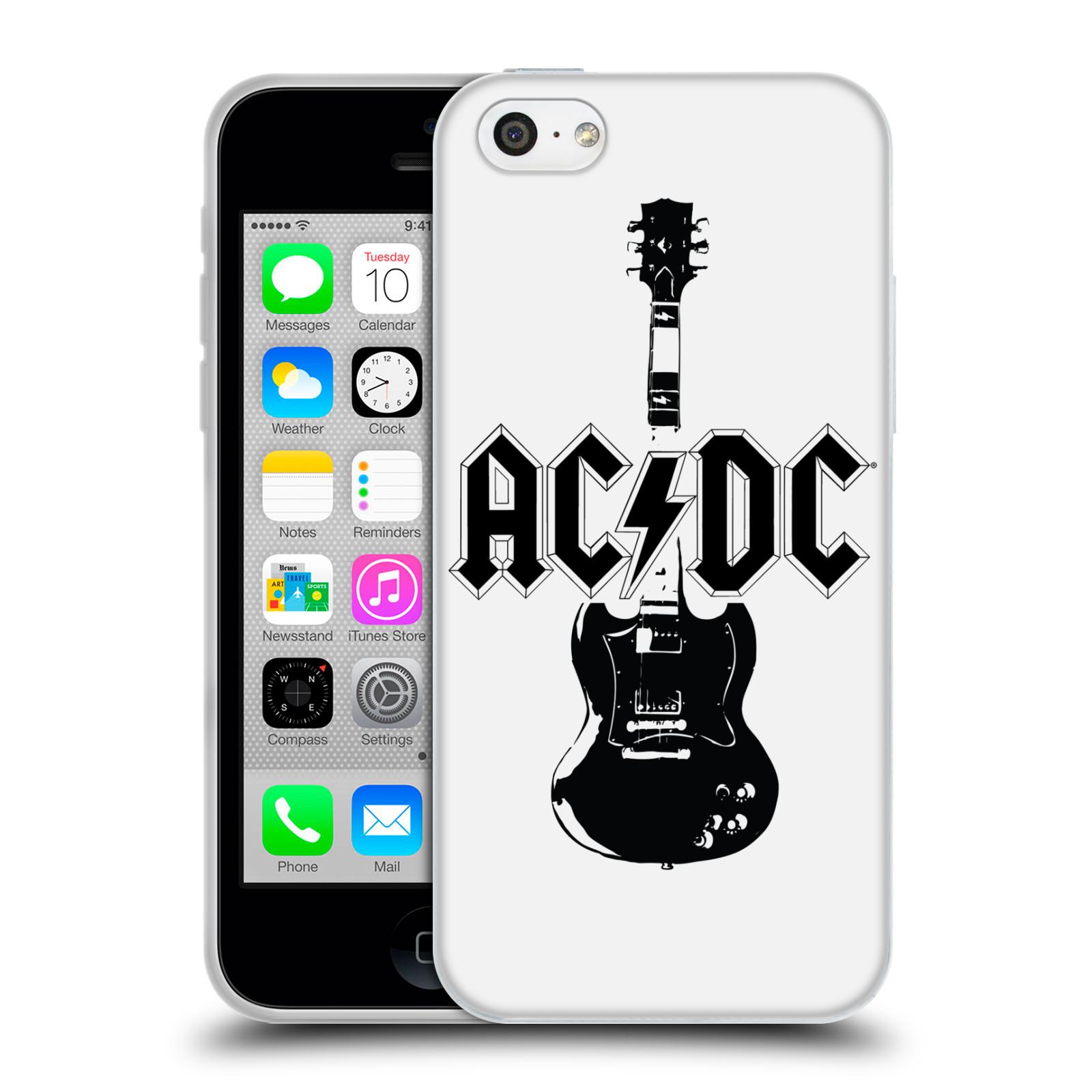HEAD CASE silikonový obal na mobil Apple Iphone 5C rocková skupina ACDC kytara černá a bílá