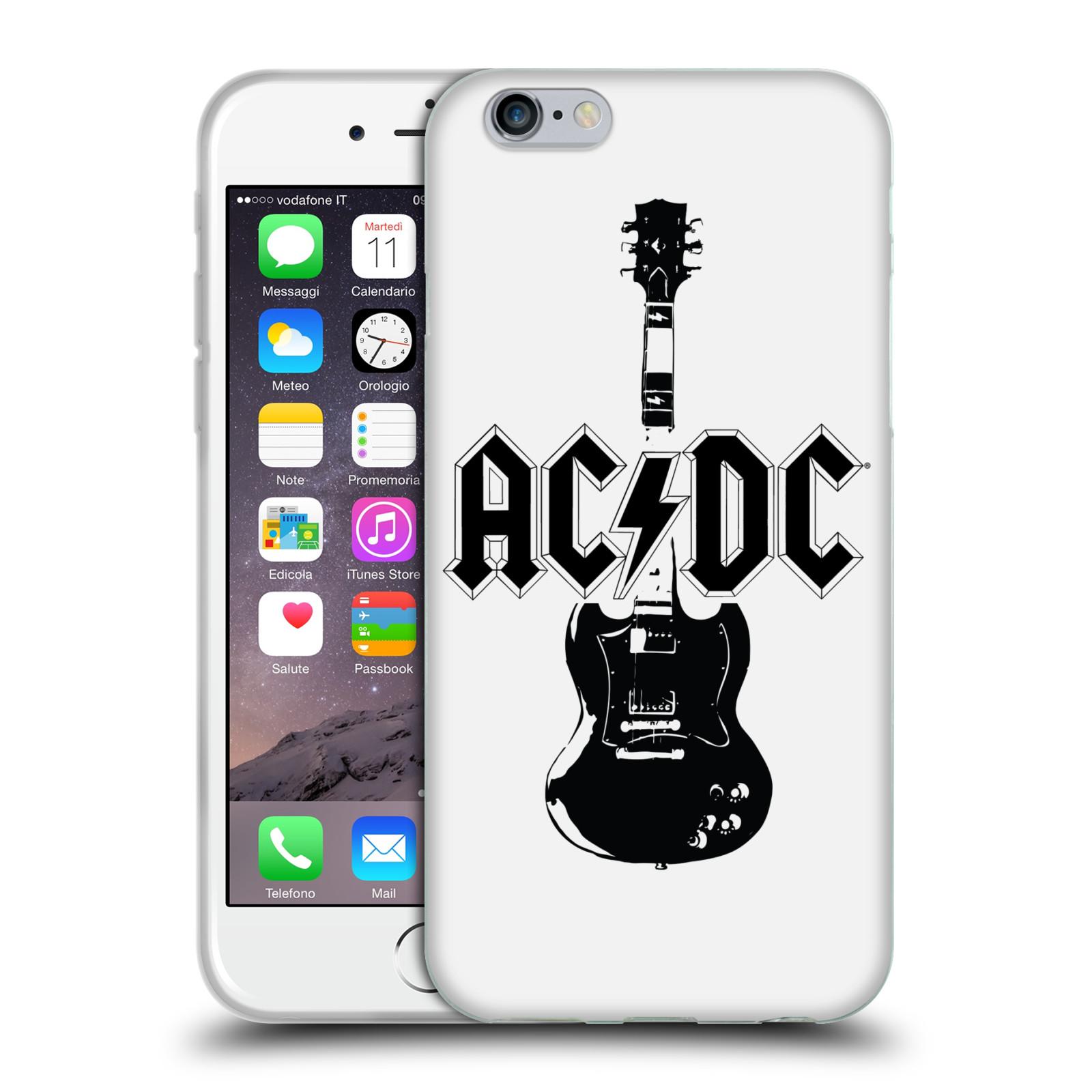 HEAD CASE silikonový obal na mobil Apple Iphone 6/6S rocková skupina ACDC kytara černá a bílá