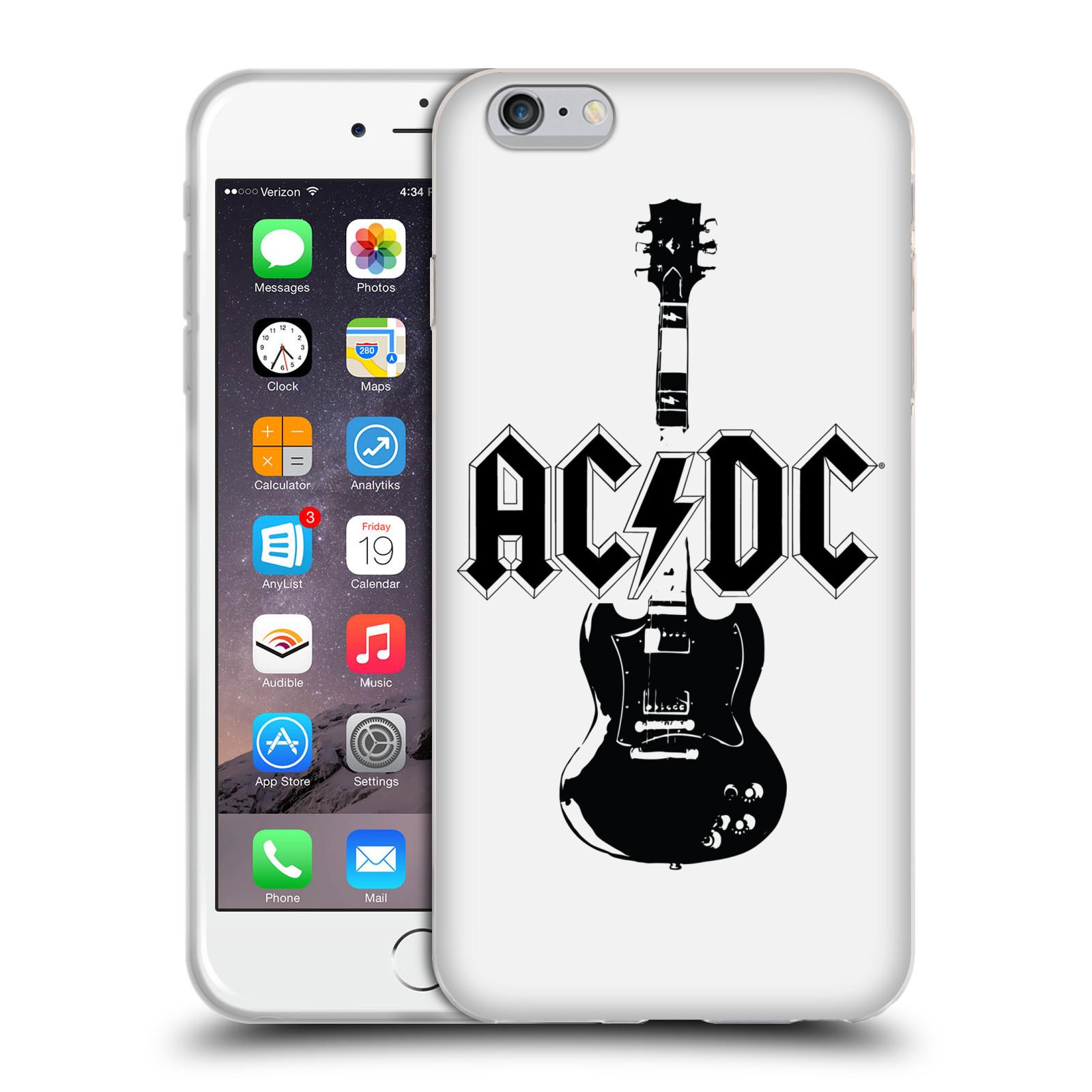 HEAD CASE silikonový obal na mobil Apple Iphone 6/6S PLUS rocková skupina ACDC kytara černá a bílá