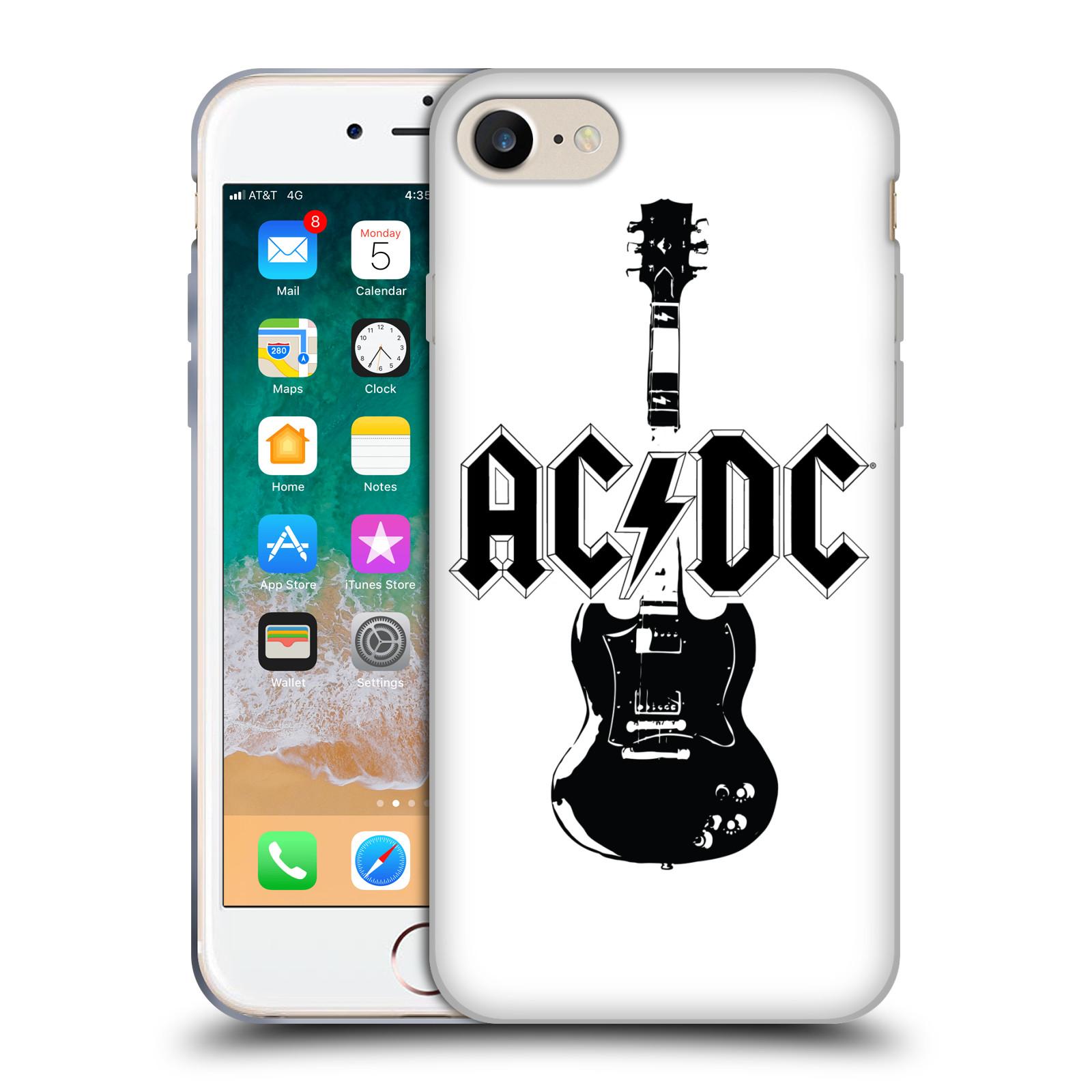 HEAD CASE silikonový obal na mobil Apple Iphone 7 rocková skupina ACDC kytara černá a bílá