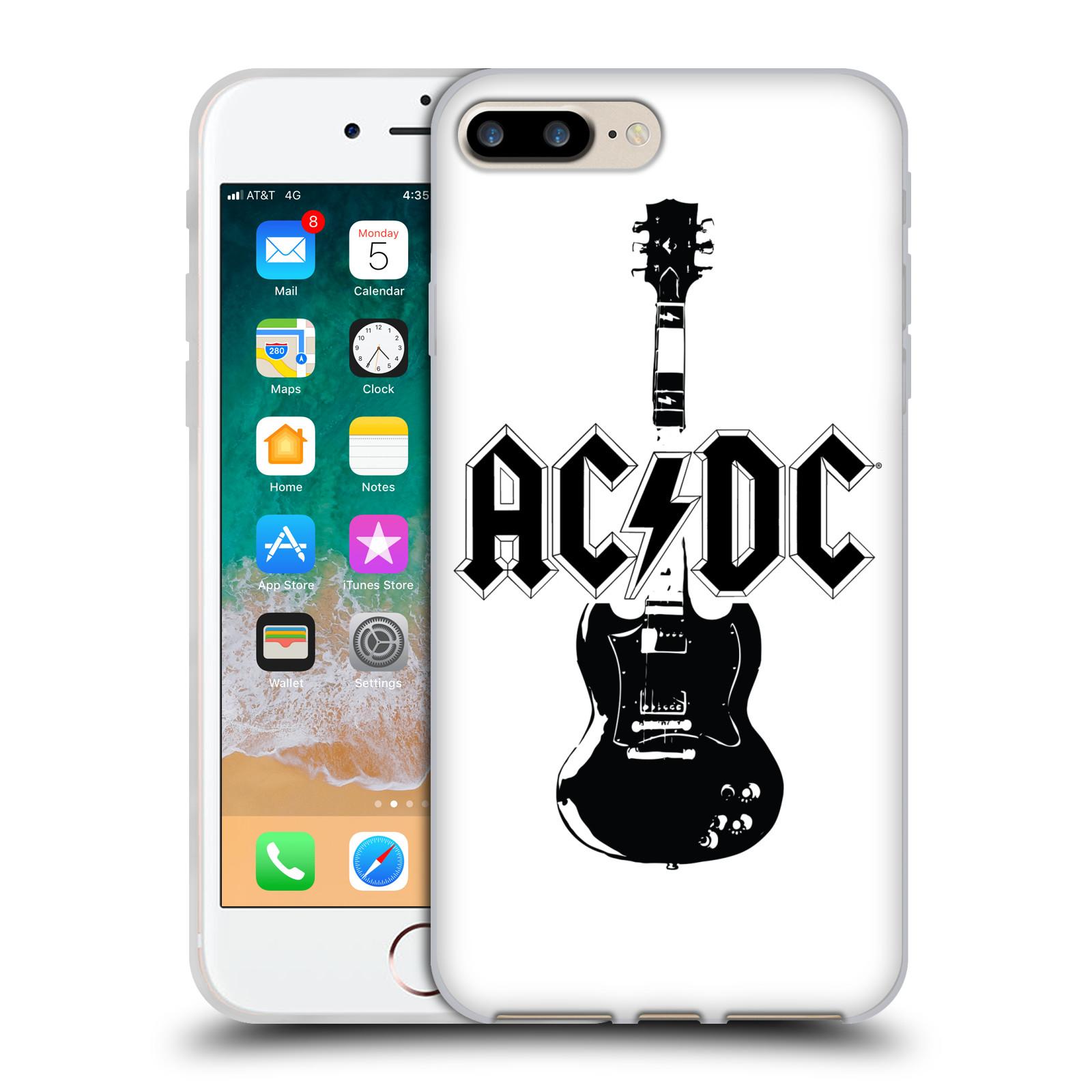 HEAD CASE silikonový obal na mobil Apple Iphone 7 PLUS rocková skupina ACDC kytara černá a bílá