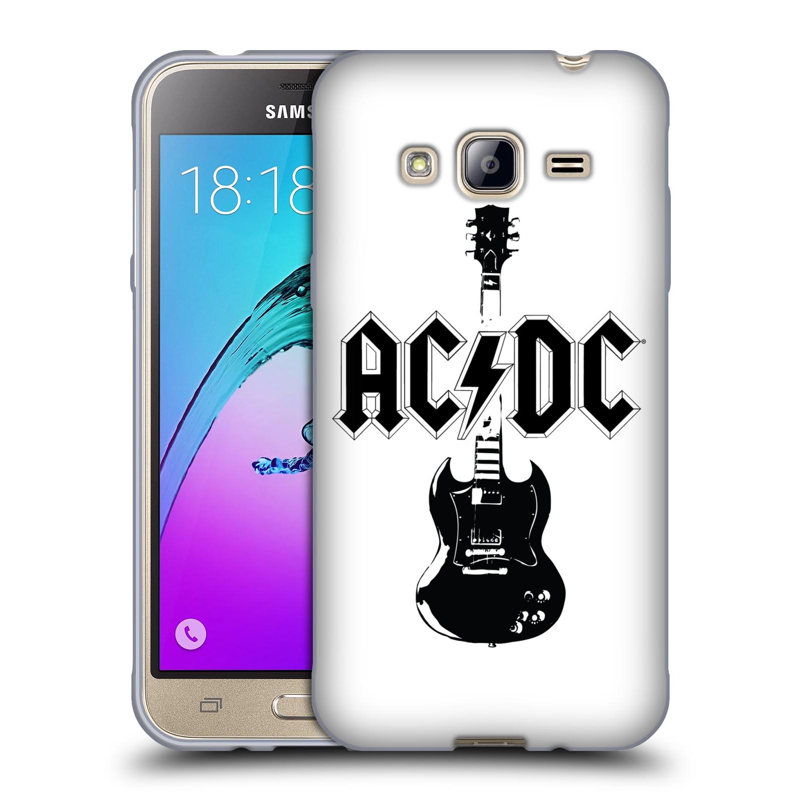 HEAD CASE silikonový obal na mobil Samsung Galaxy J3, J3 2016 rocková skupina ACDC kytara černá a bílá