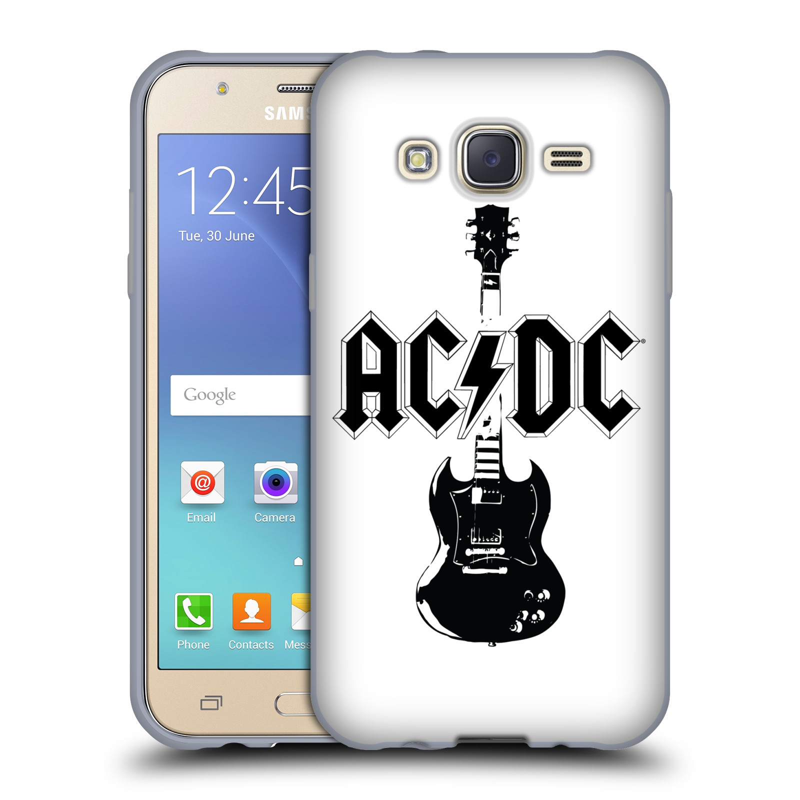 HEAD CASE silikonový obal na mobil Samsung Galaxy J5 2015 (J500) rocková skupina ACDC kytara černá a bílá
