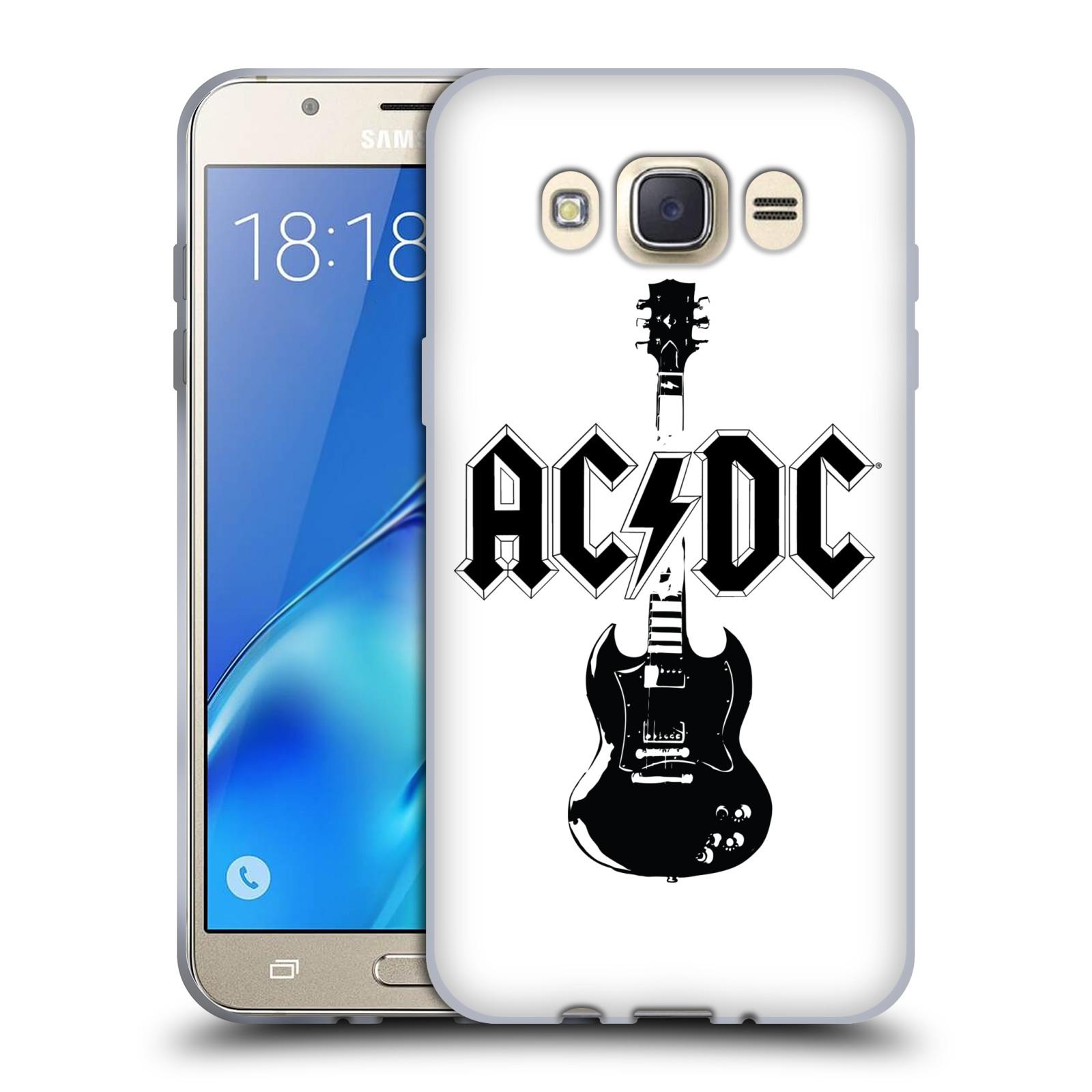 HEAD CASE silikonový obal na mobil Samsung Galaxy J7 2016 rocková skupina ACDC kytara černá a bílá