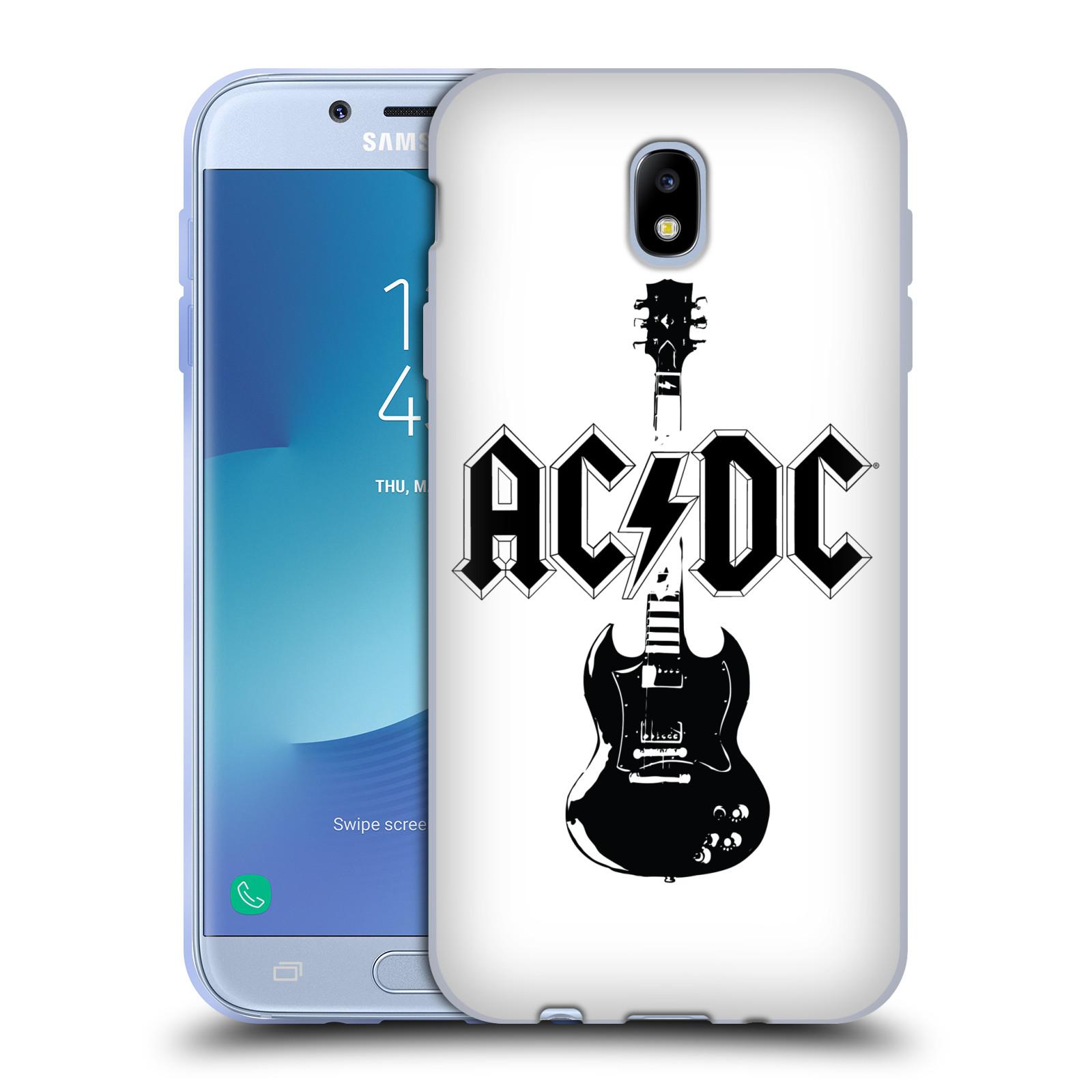 HEAD CASE silikonový obal na mobil Samsung Galaxy J7 2017 rocková skupina ACDC kytara černá a bílá