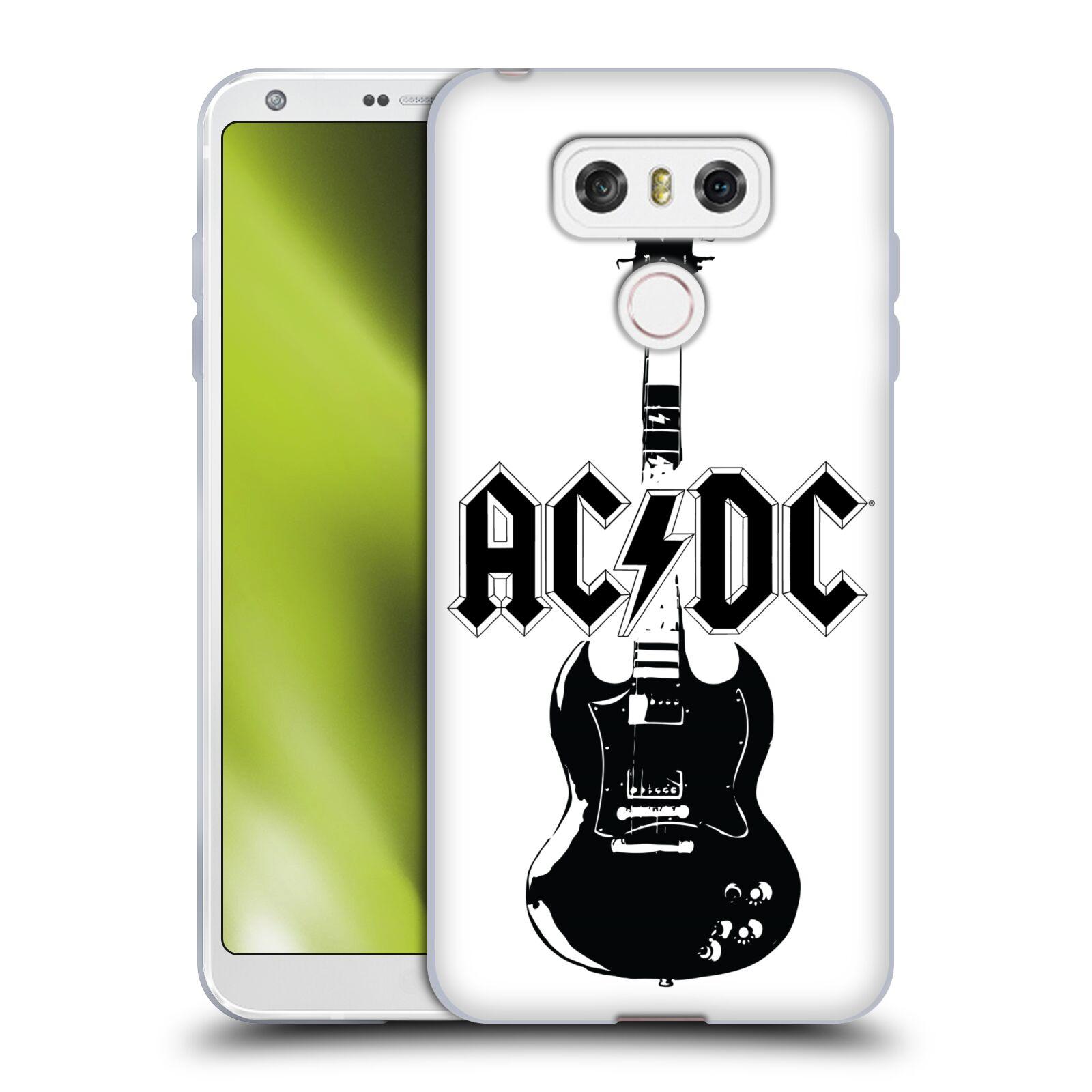 HEAD CASE silikonový obal na mobil LG G6 / G6 DUAL rocková skupina ACDC kytara černá a bílá