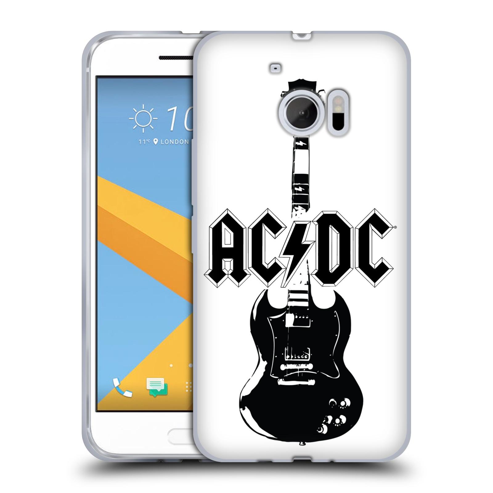 HEAD CASE silikonový obal na mobil HTC 10 rocková skupina ACDC kytara černá a bílá