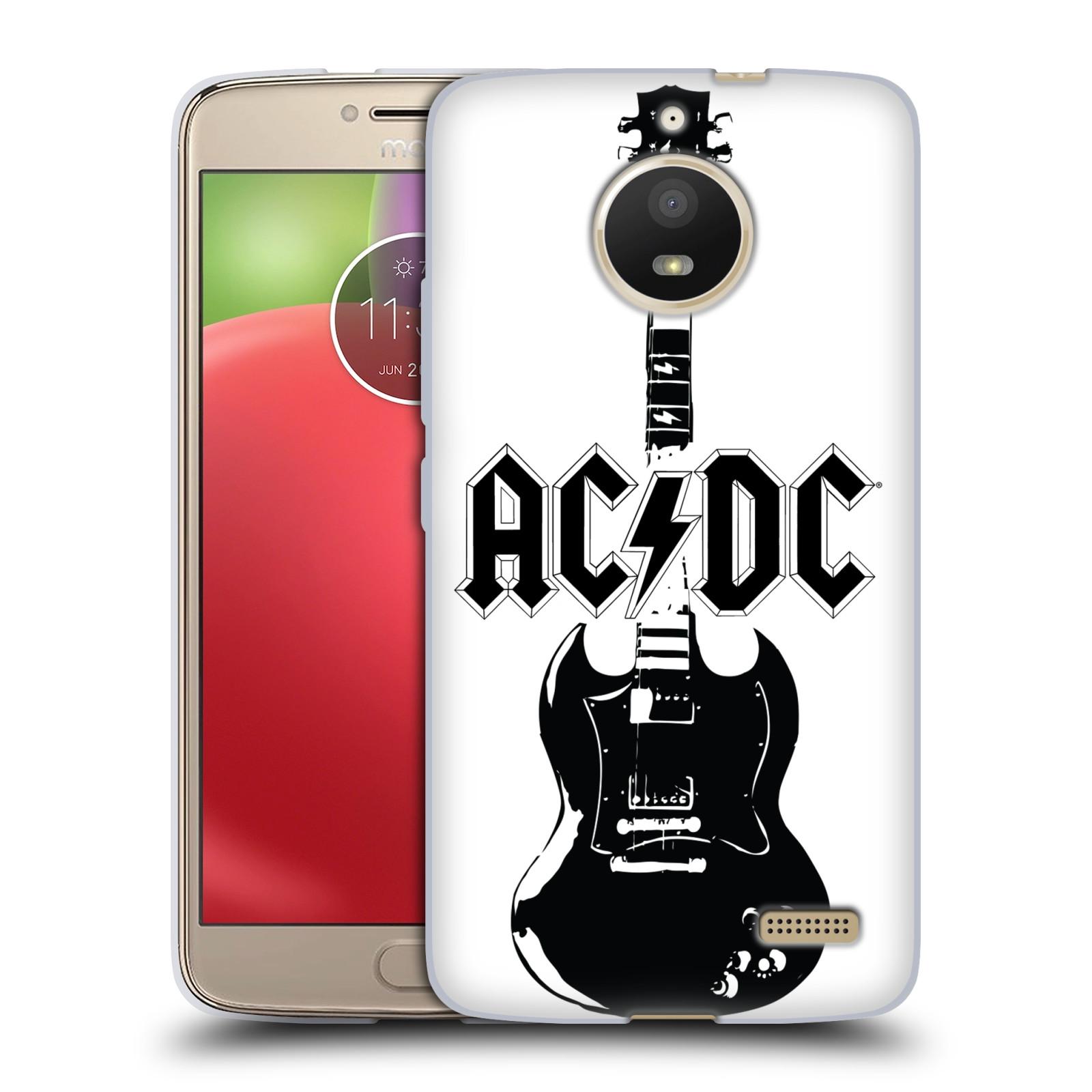 HEAD CASE silikonový obal na mobil Lenovo Moto E4 rocková skupina ACDC kytara černá a bílá