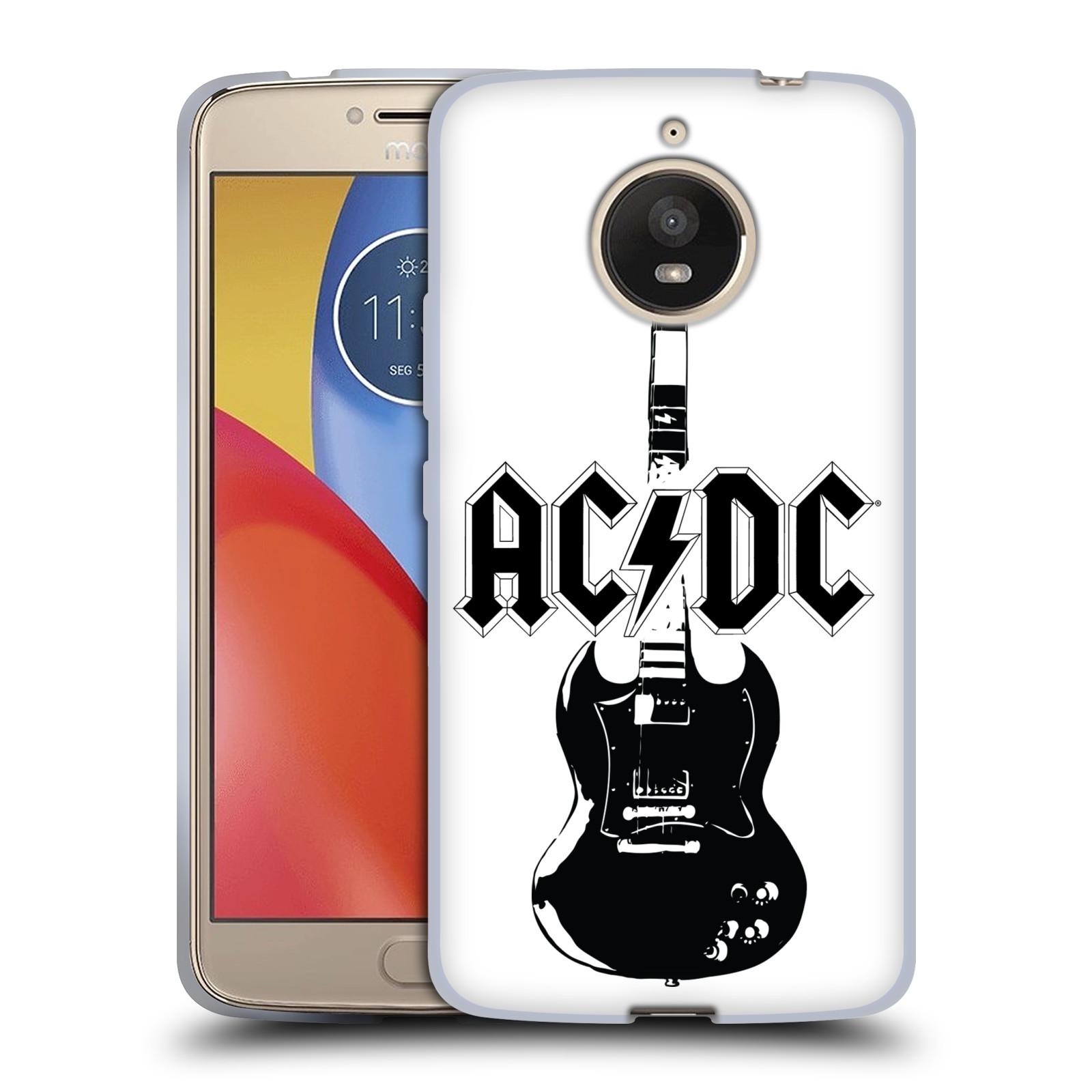 HEAD CASE silikonový obal na mobil Lenovo Moto E4 PLUS rocková skupina ACDC kytara černá a bílá