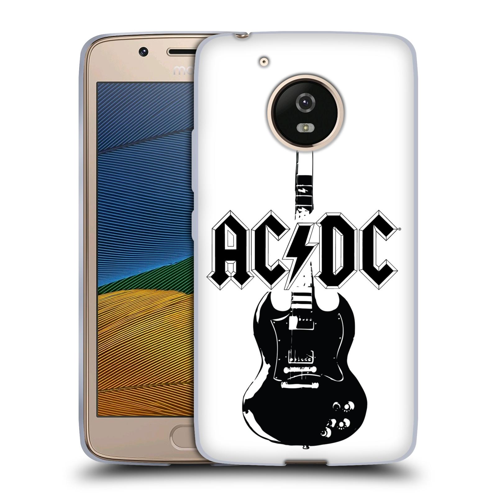 HEAD CASE silikonový obal na mobil Lenovo Moto G5 rocková skupina ACDC kytara černá a bílá