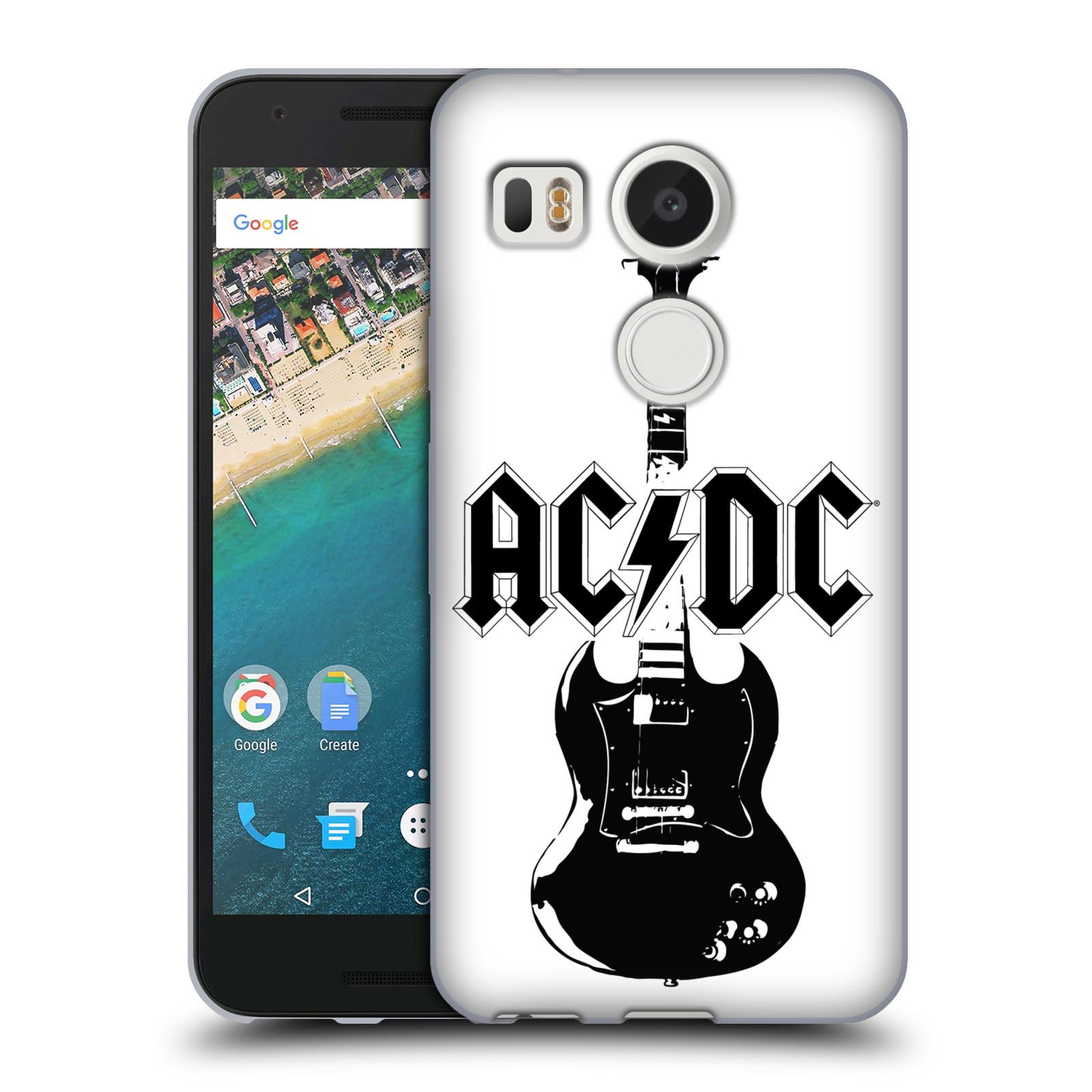 HEAD CASE silikonový obal na mobil LG NEXUS 5X rocková skupina ACDC kytara černá a bílá