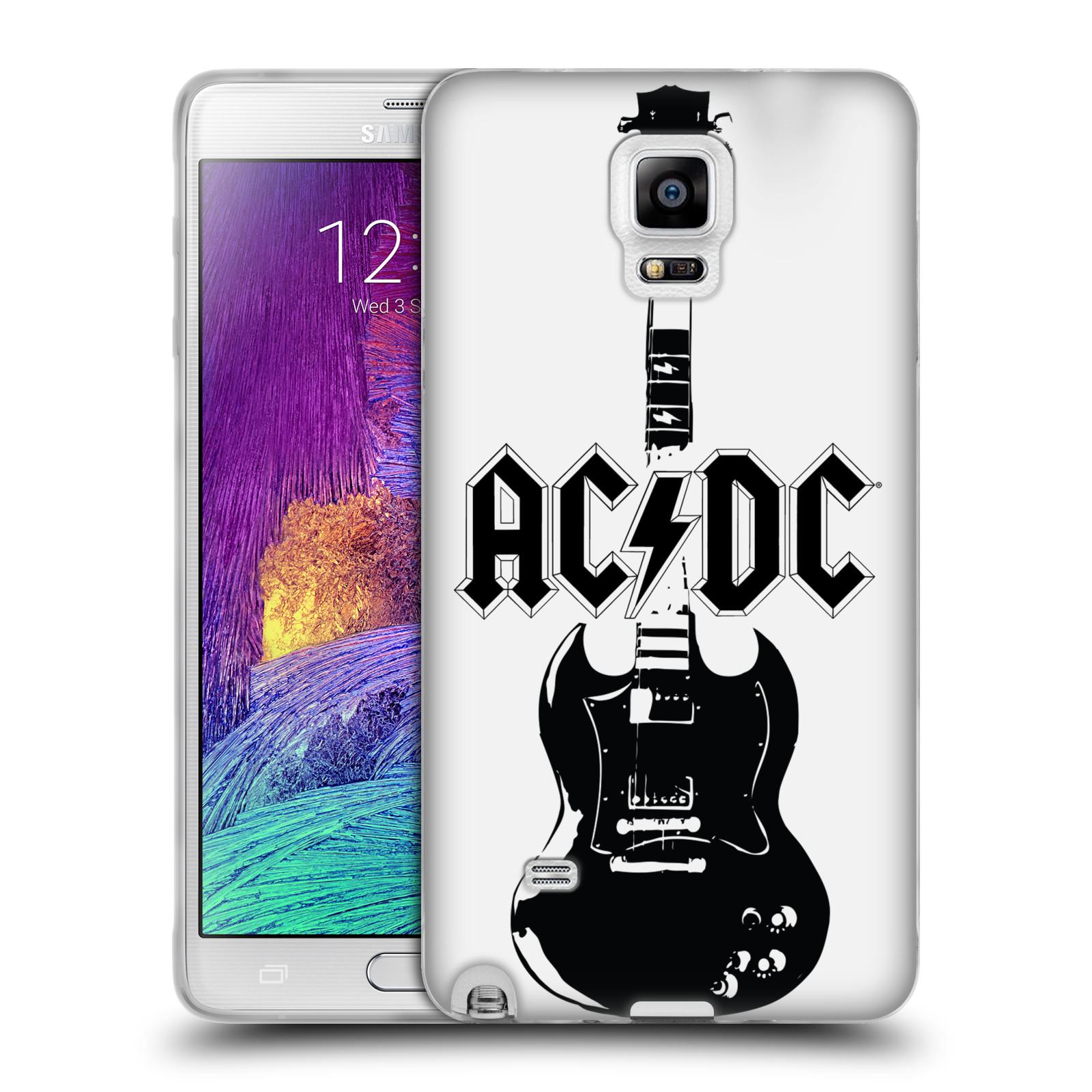 HEAD CASE silikonový obal na mobil Samsung Galaxy Note 4 rocková skupina ACDC kytara černá a bílá