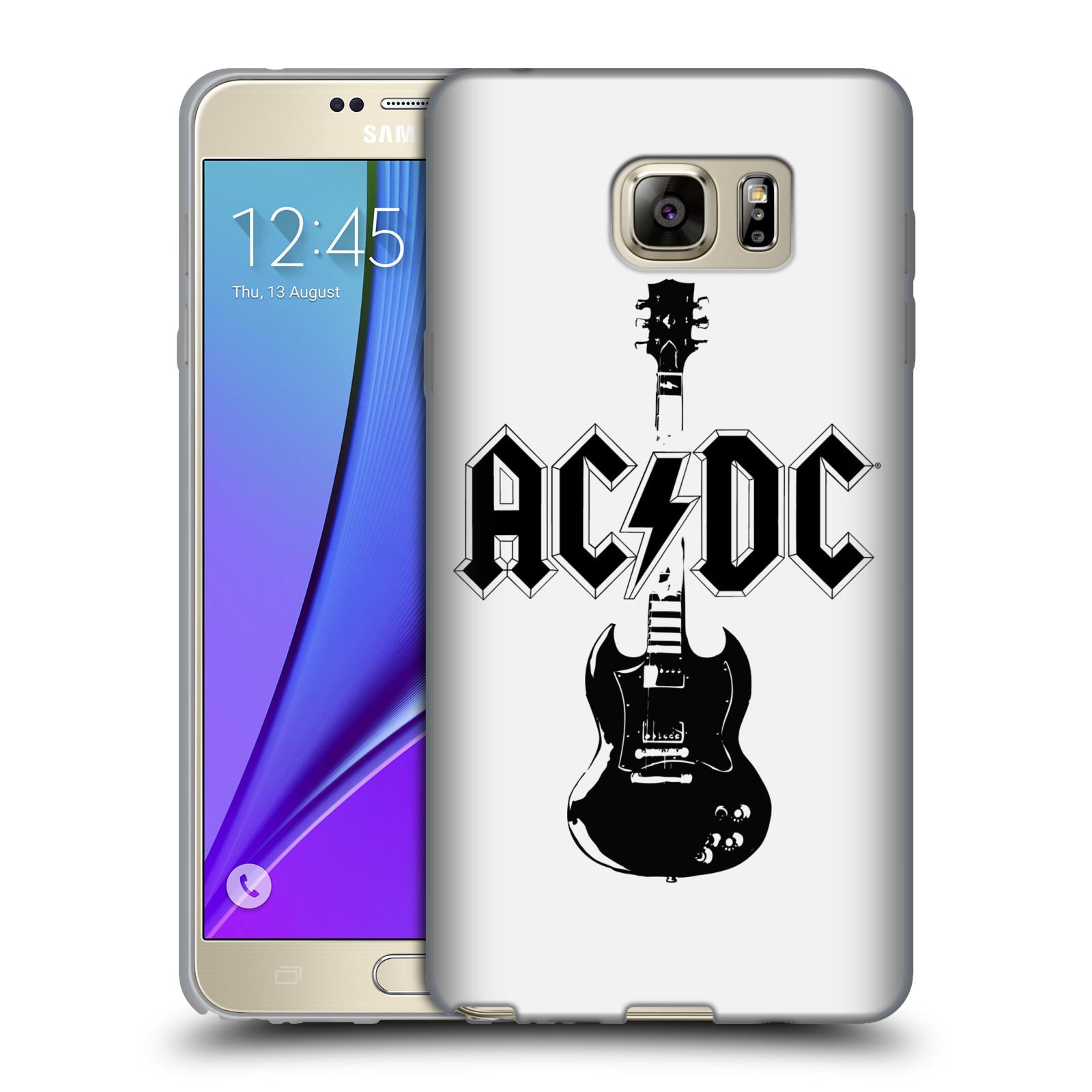 HEAD CASE silikonový obal na mobil Samsung Galaxy Note 5 rocková skupina ACDC kytara černá a bílá
