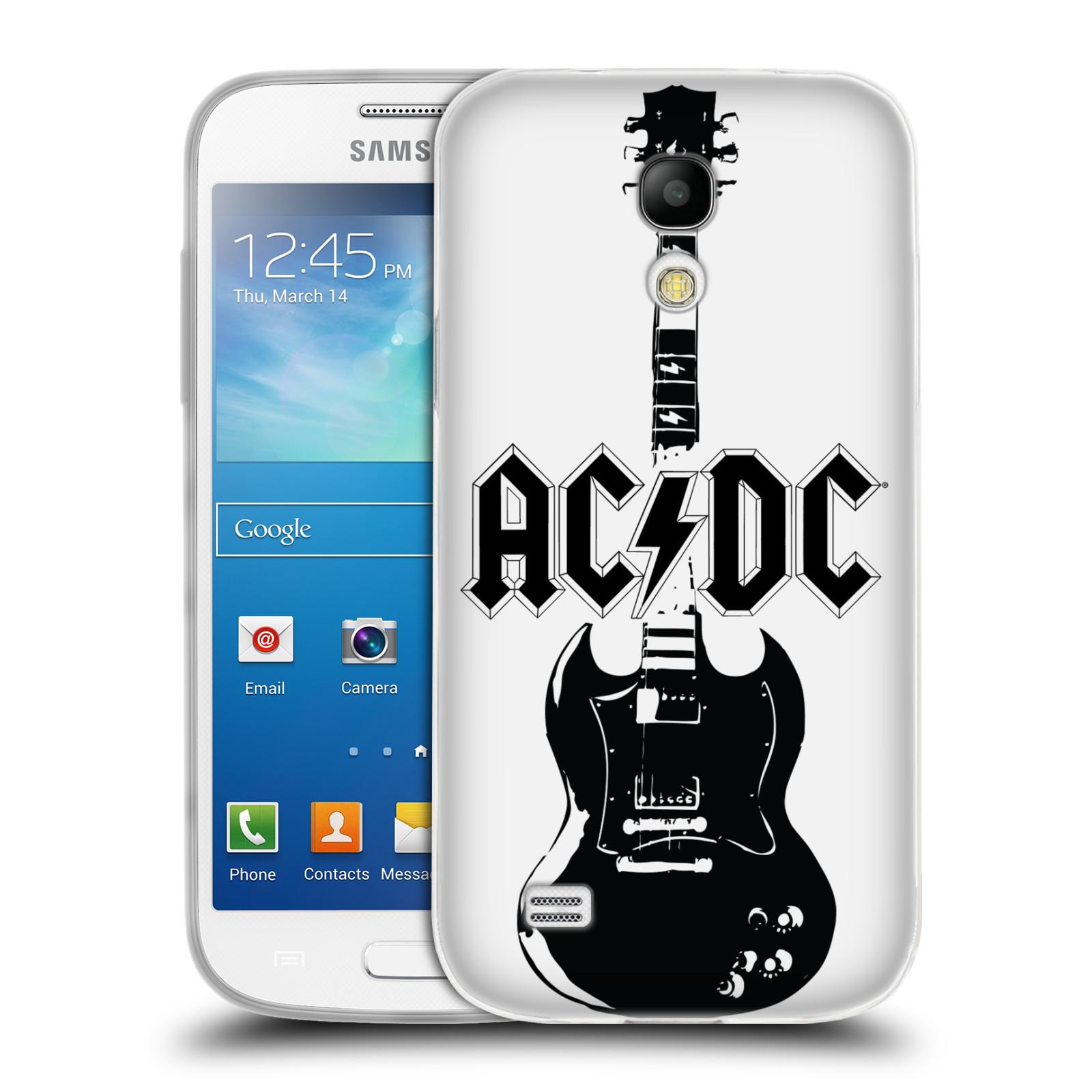 HEAD CASE silikonový obal na mobil Samsung Galaxy S4 MINI rocková skupina ACDC kytara černá a bílá