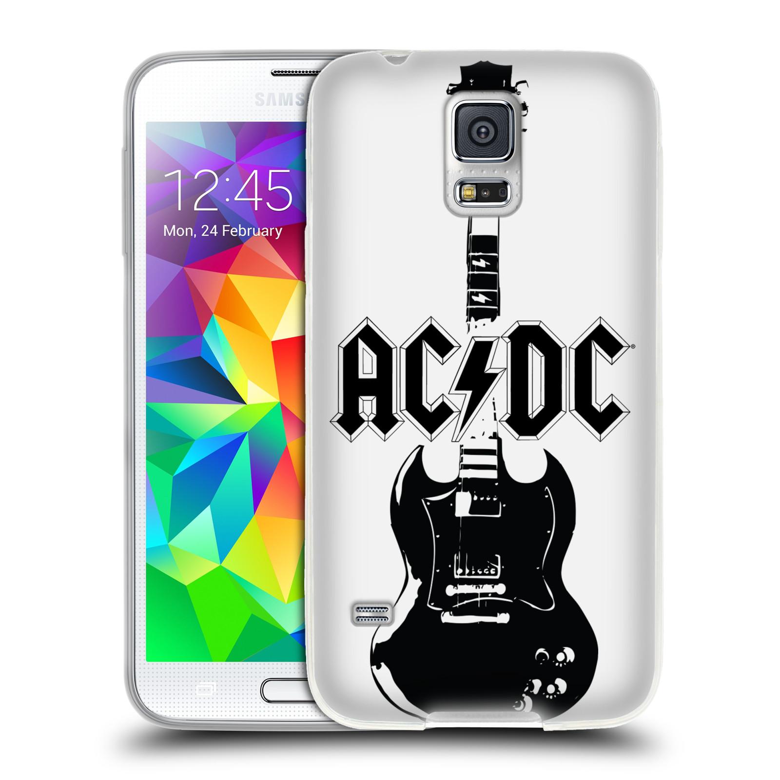 HEAD CASE silikonový obal na mobil Samsung Galaxy S5 rocková skupina ACDC kytara černá a bílá