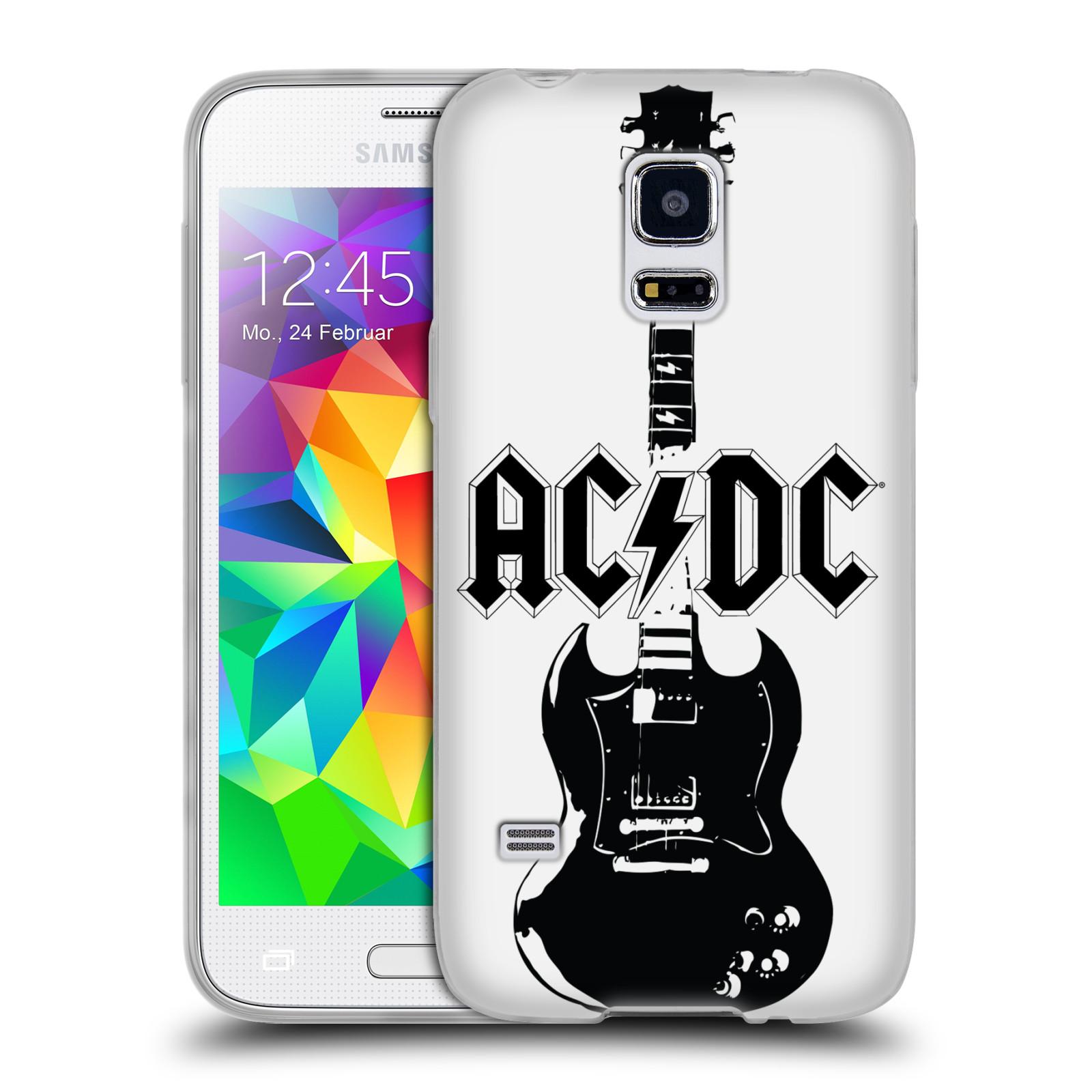 HEAD CASE silikonový obal na mobil Samsung Galaxy S5 MINI rocková skupina ACDC kytara černá a bílá