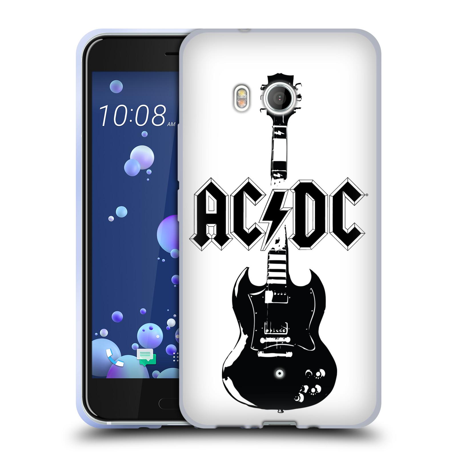 HEAD CASE silikonový obal na mobil HTC U11 / HTC U11 DUAL SIM rocková skupina ACDC kytara černá a bílá