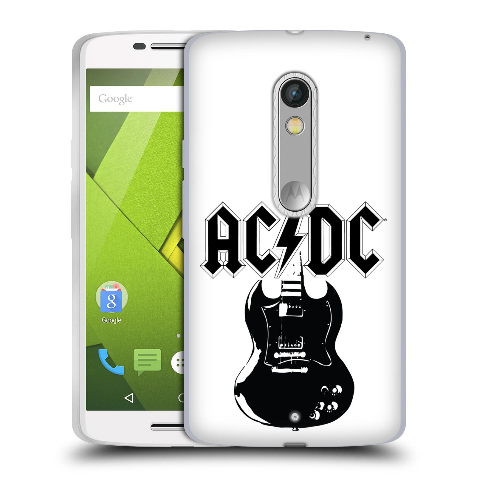 HEAD CASE silikonový obal na mobil Lenovo Moto X PLAY rocková skupina ACDC kytara černá a bílá