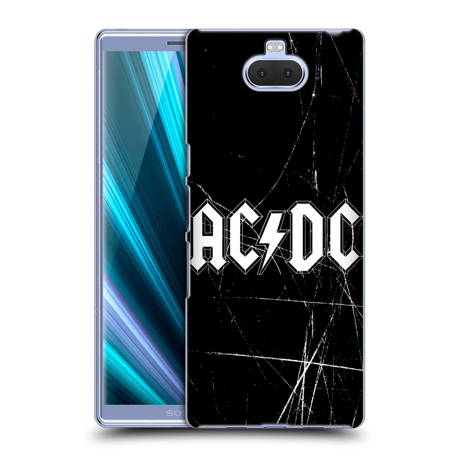 Pouzdro na mobil Sony Xperia 10 - Head Case - rocková skupina ACDC bílý nadpis logo