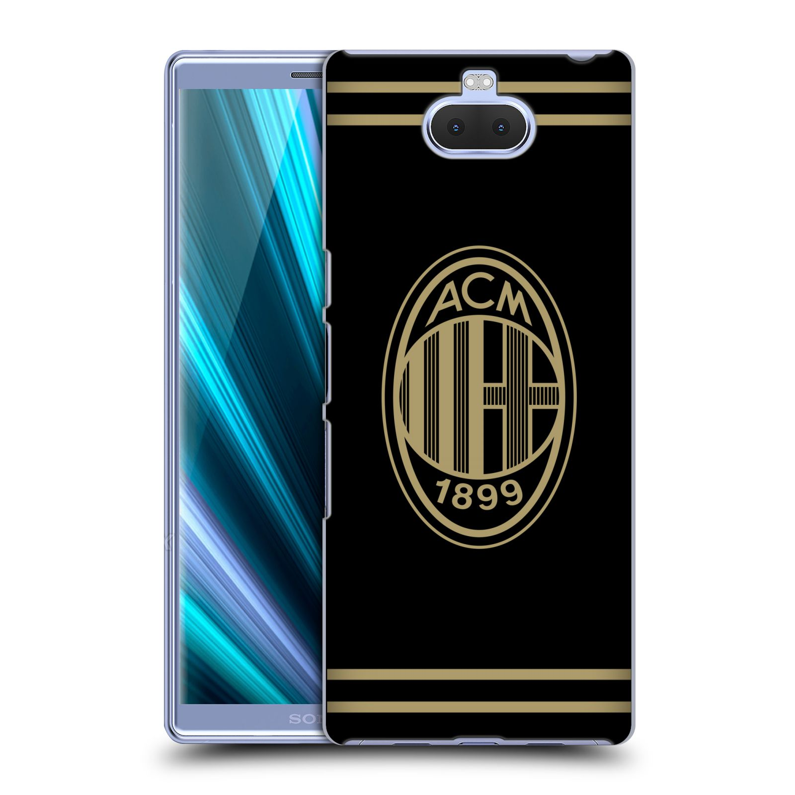 Pouzdro na mobil Sony Xperia 10 - Head Case - oficiální kryt fotbalový tým AC MILÁN černá a zlatá znak