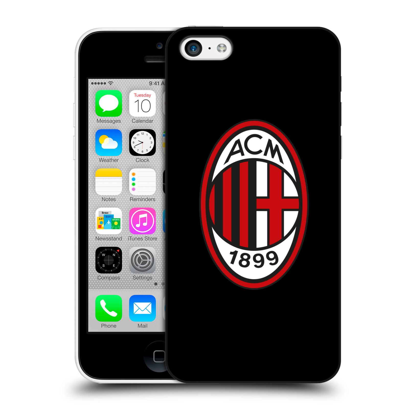 HEAD CASE plastový obal na mobil Apple Iphone 5C oficiální kryt fotbalový tým AC MILÁN plné barvy černá