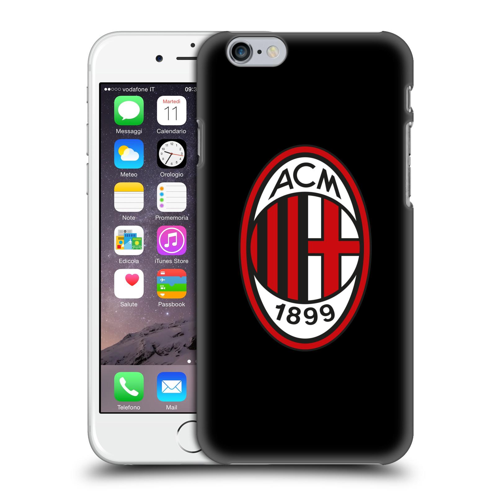 HEAD CASE plastový obal na mobil Apple Iphone 6 6S oficiální kryt fotbalový  tým AC MILÁN plné barvy černá 8b7b178c85d