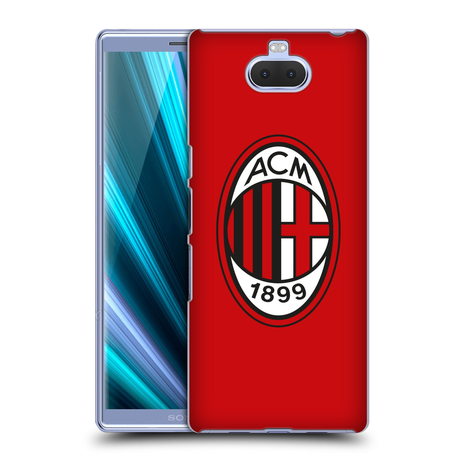 Pouzdro na mobil Sony Xperia 10 - Head Case - oficiální kryt fotbalový tým AC MILÁN plné barvy červená