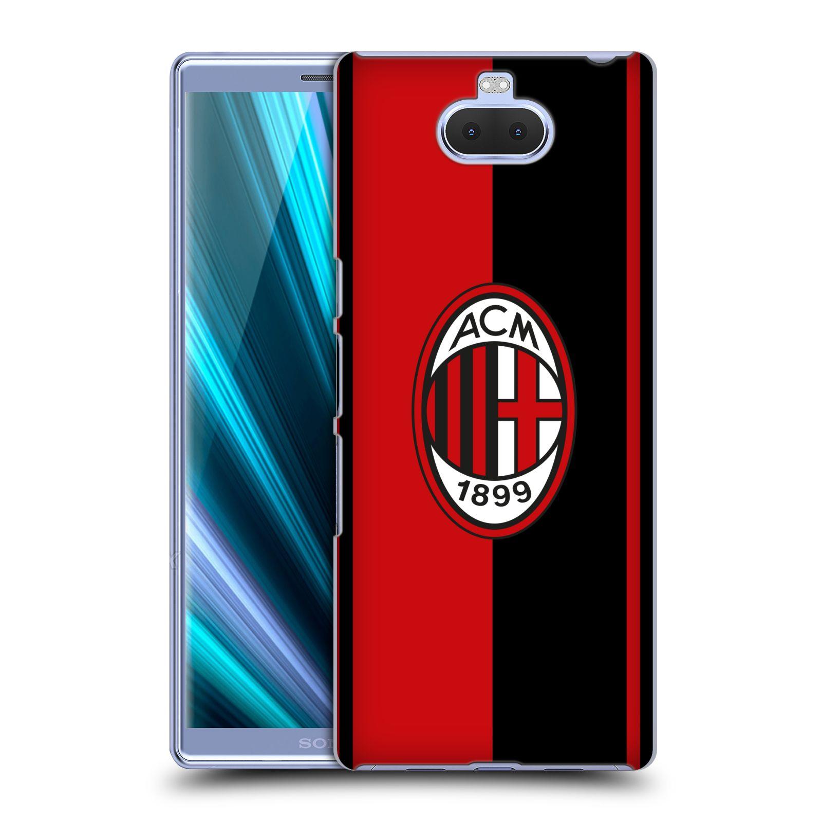 Pouzdro na mobil Sony Xperia 10 - Head Case - oficiální kryt fotbalový tým AC MILÁN půlky černá červená znak
