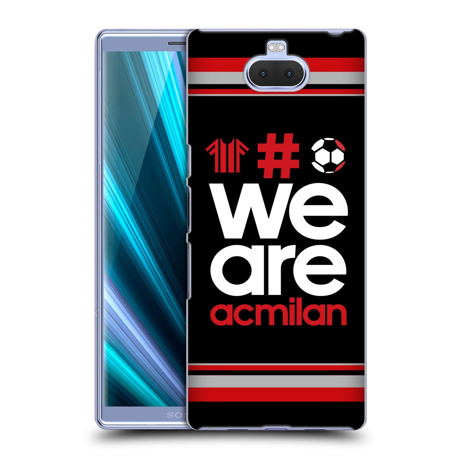Pouzdro na mobil Sony Xperia 10 - Head Case - oficiální kryt fotbalový tým AC MILÁN hashtag We are AC MILAN černá