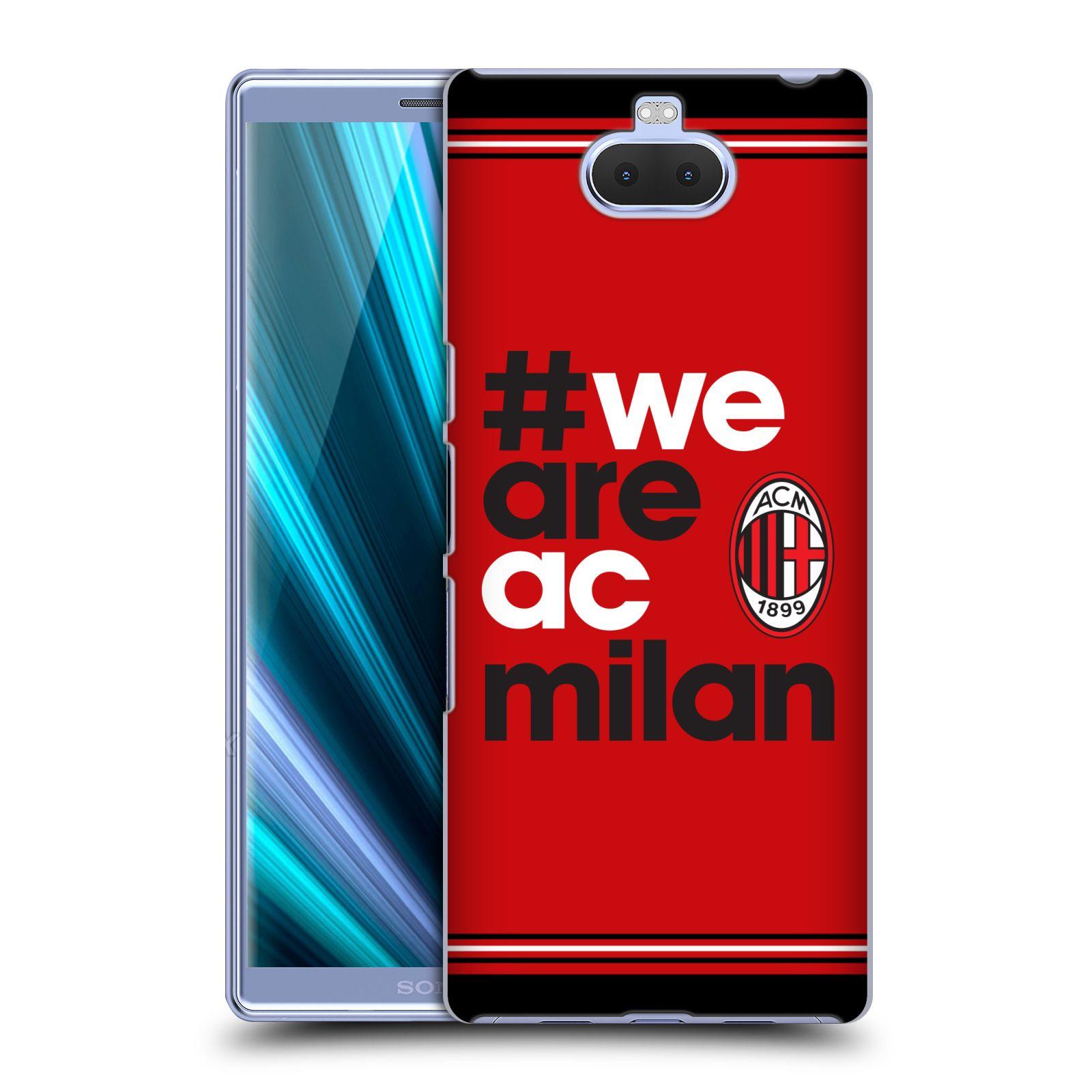 Pouzdro na mobil Sony Xperia 10 - Head Case - oficiální kryt fotbalový tým AC MILÁN hashtag We are AC MILAN červená