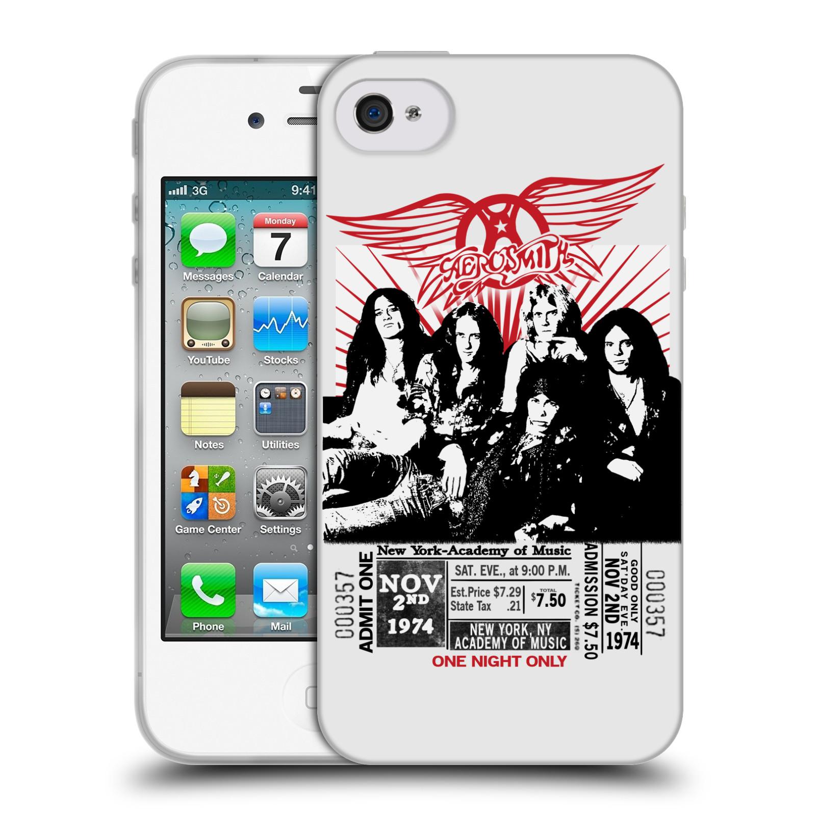 HEAD CASE silikonový obal na mobil Apple Iphone 4 4S rocková skupina  Aerosmith plakát černá a bílá 9b7aa33b98a